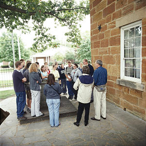 BYU students visit Carthage Jail during an excursion sponsored by BYU semester at Nauvoo program. The program has been available to BYU students since 1994.