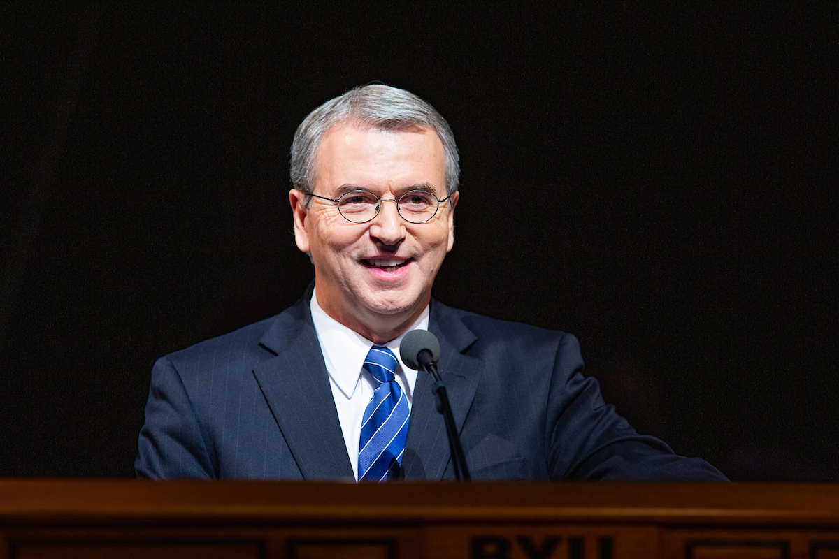 Elder Carlos A. Godoy of the Presidency of the Seventy speaks during a campus devotional at Brigham Young University on March 12, 2019.