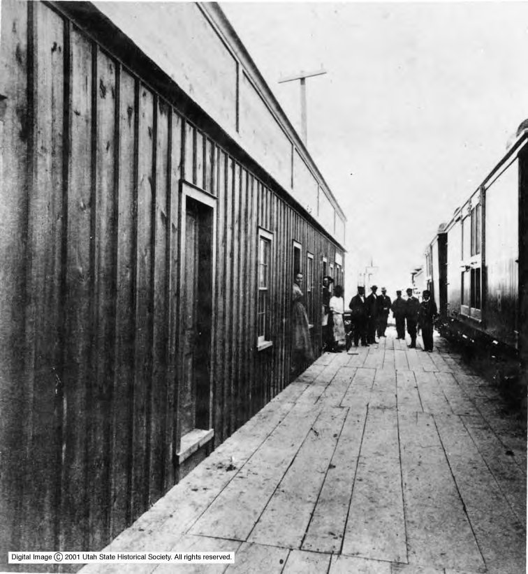 An eating house at Promontory, Utah, is photographed in May 1869.