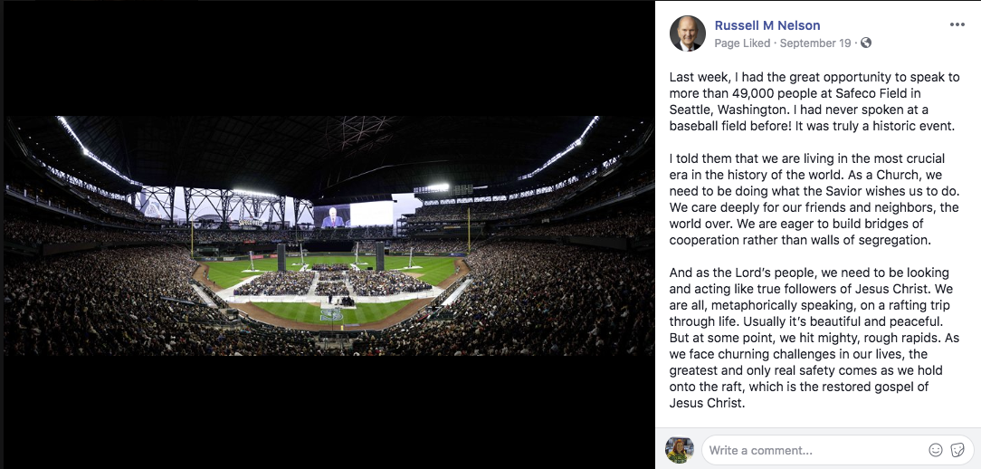 President Russell M. Nelson spoke to over 49,000 members of the Church on Sunday, Sept. 15, in Safeco Field in Seattle, Washington. On Sept. 19, the Church president's Facebook page and Twitter featured a panoramic photo of this massive crowd of people gathered to hear a prophet's voice.