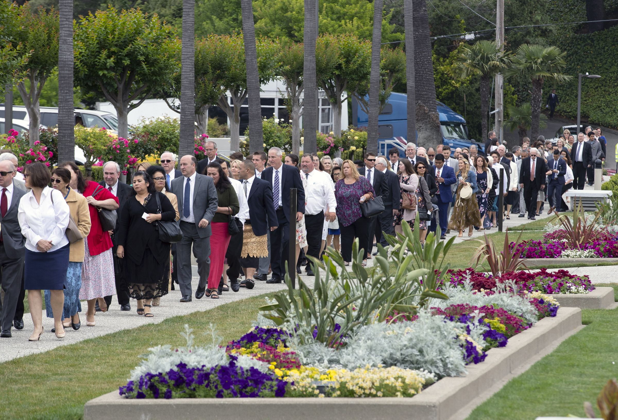 Latter-day Saints wait in line for the second session where President Dallin H. Oaks, first counselor in the First Presidency, rededicated the Oakland California Temple on Sunday, June 16, 2019.