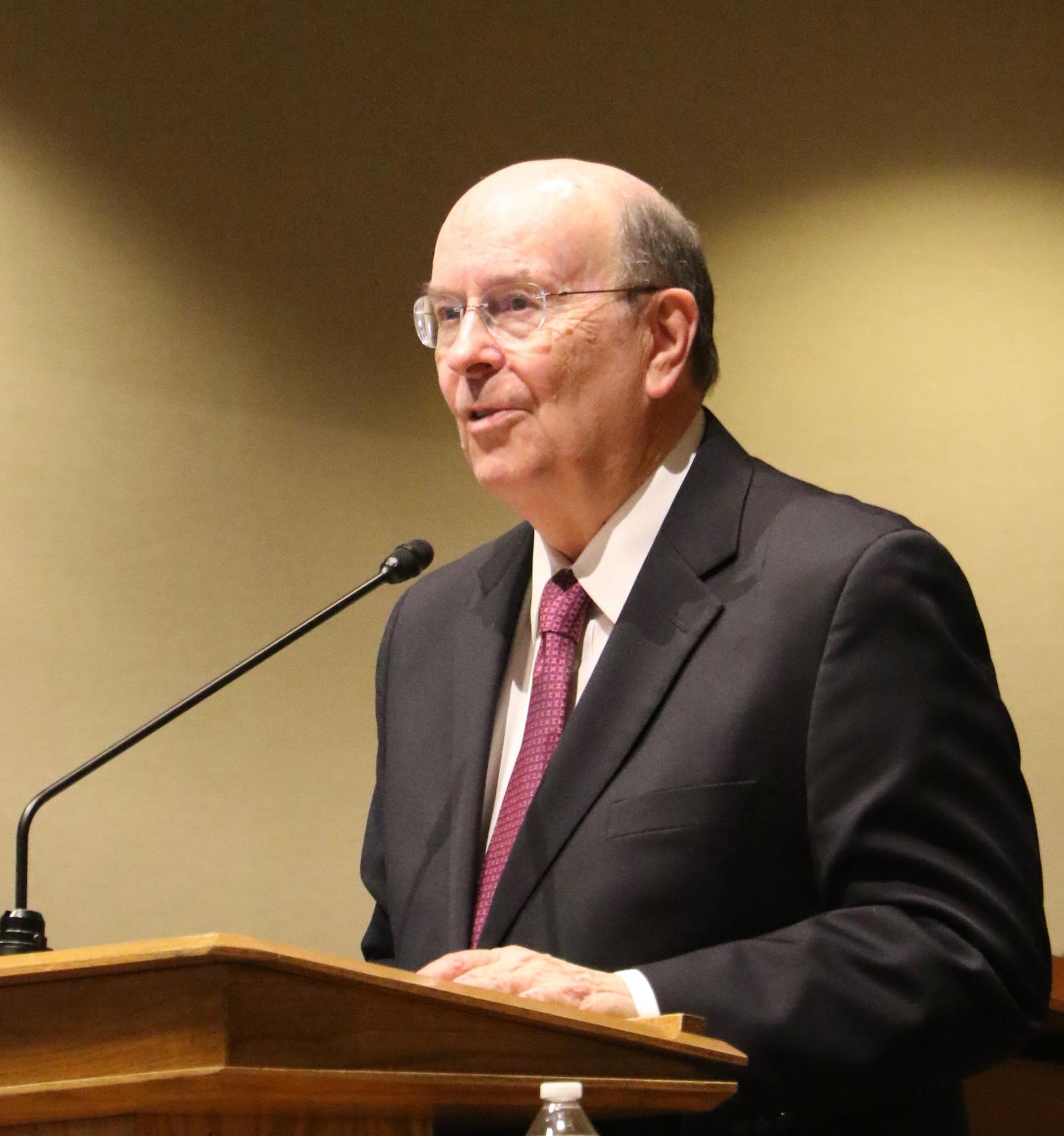Elder Quentin L. Cook of the Quorum of the Twelve Apostles speaks during a Friday, Feb. 1, 2019, devotional at the Utah Valley Institute on the Utah Valley University campus in Orem, Utah.