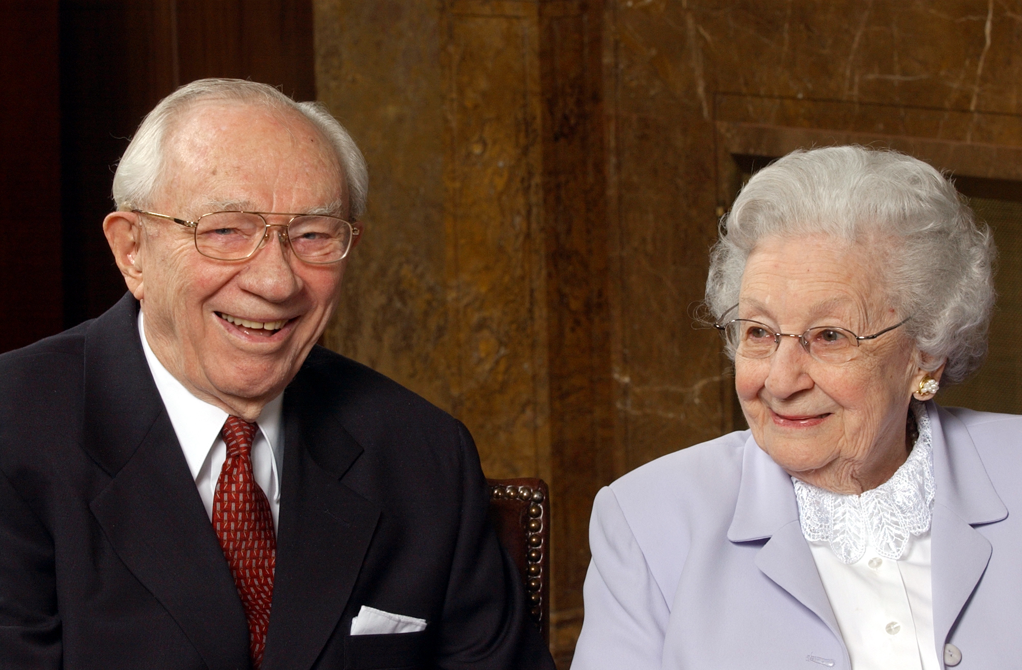 President Gordon B. and Marjorie Hinckley laugh during media interview Mar 13th, 2003.