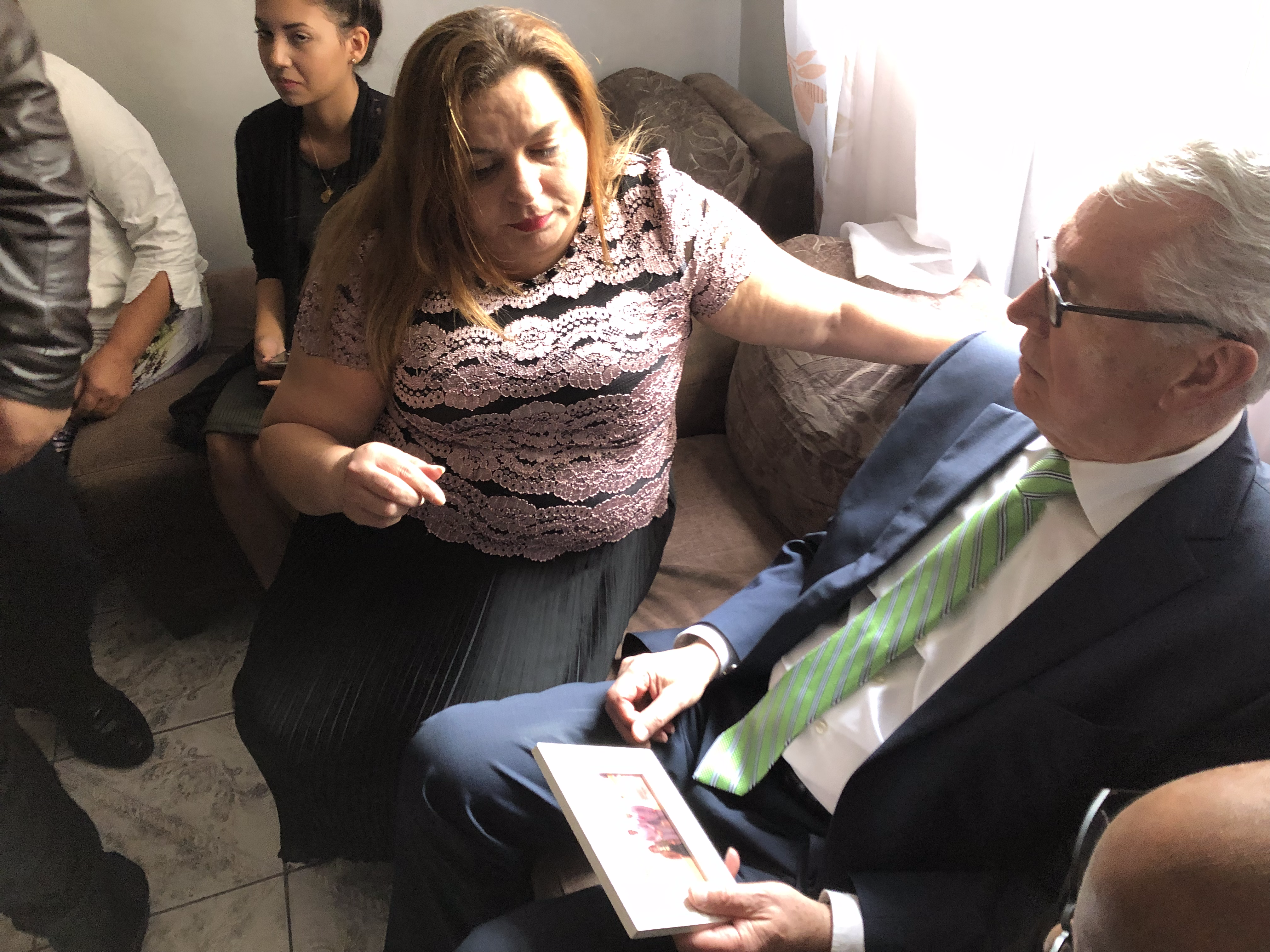 Elder Dieter F. Uchtdorf of the Quorum of the Twelve Apostles, right, listens to Rusana Gondim Rodrigues in the Gondim home in Sao Paulo, Brazil, on Feb. 17, 2019. Her son, Elder Joao Gondim, passed away Jan. 28, 2019, while serving in the Portugal Lisbon Mission, and Elder Uchtdorf sought out the grieving family at their meetinghouse and in their home during his recent two-week assignment in Brazil.