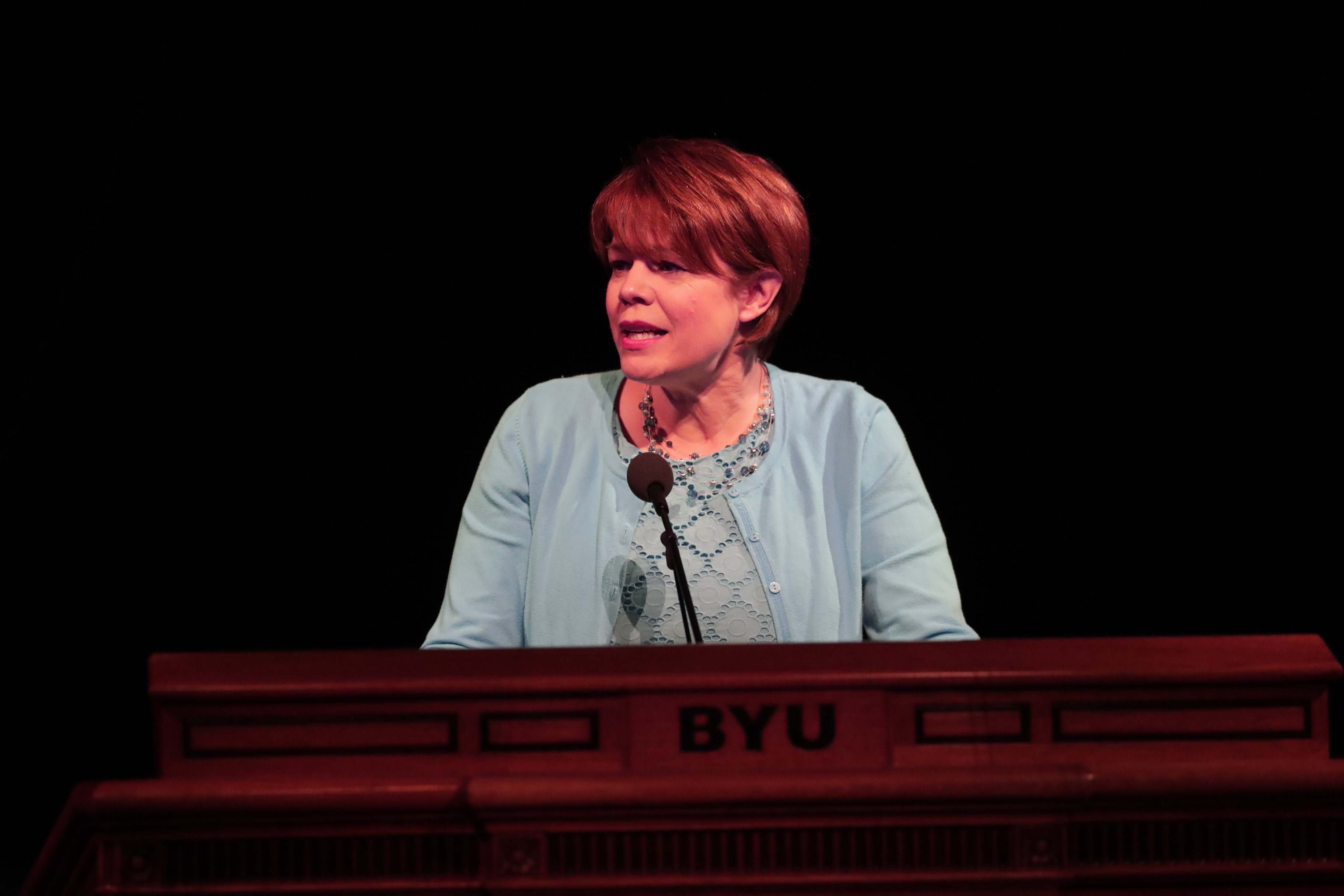 Sister Sharon Eubank, first counselor in the Relief Society generl presidency, speaks during a session of the BYU Women's Conference at the Marriott Center on May 2, 2019.