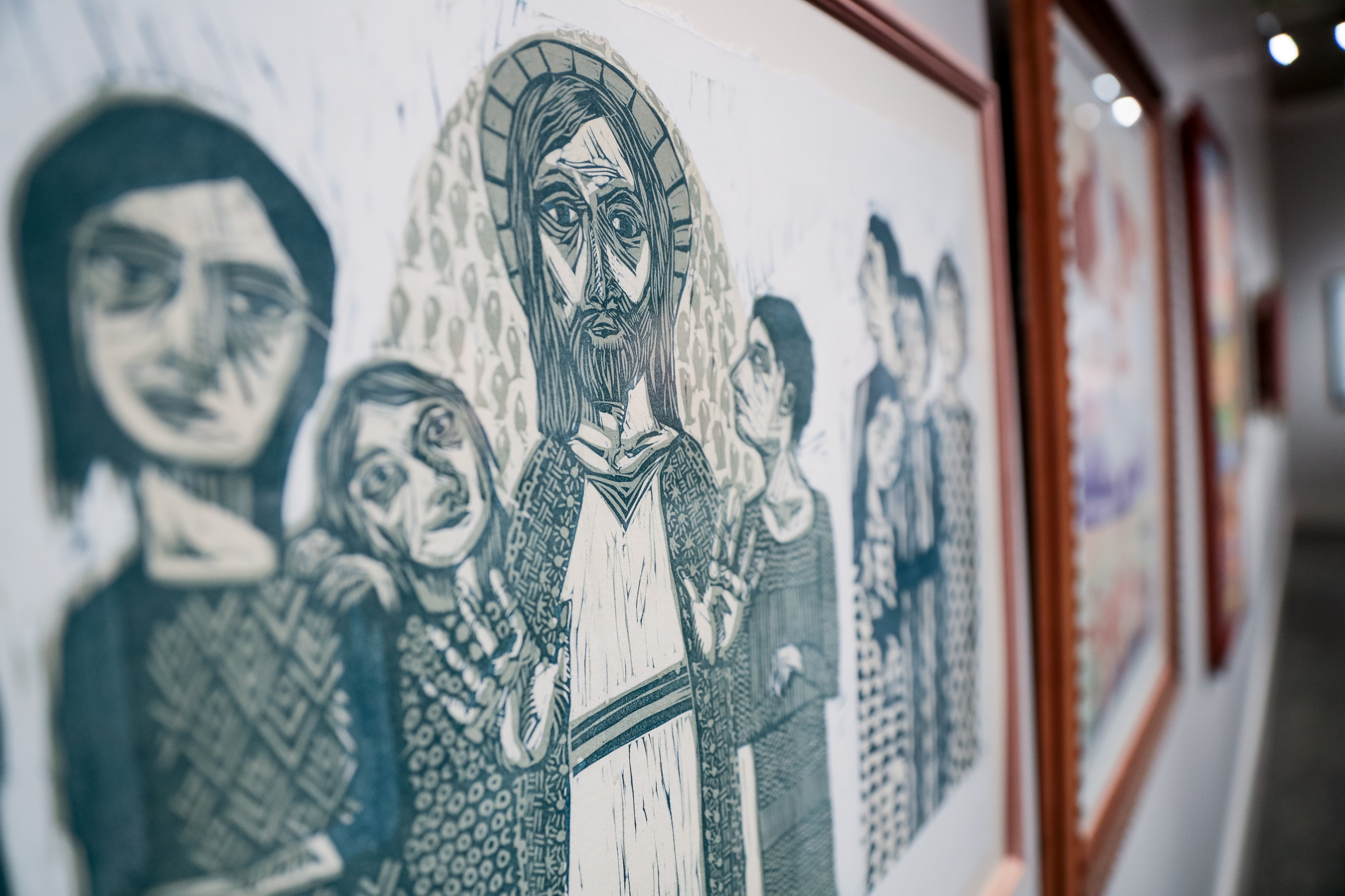 """""""Come Unto Me,"""" a relief reduction print by Sarah Anne Winegar, is pictured during a media preview for the 11th International Art Exhibition at the Church History Museum in Salt Lake City on Tuesday, March 12, 2019."""