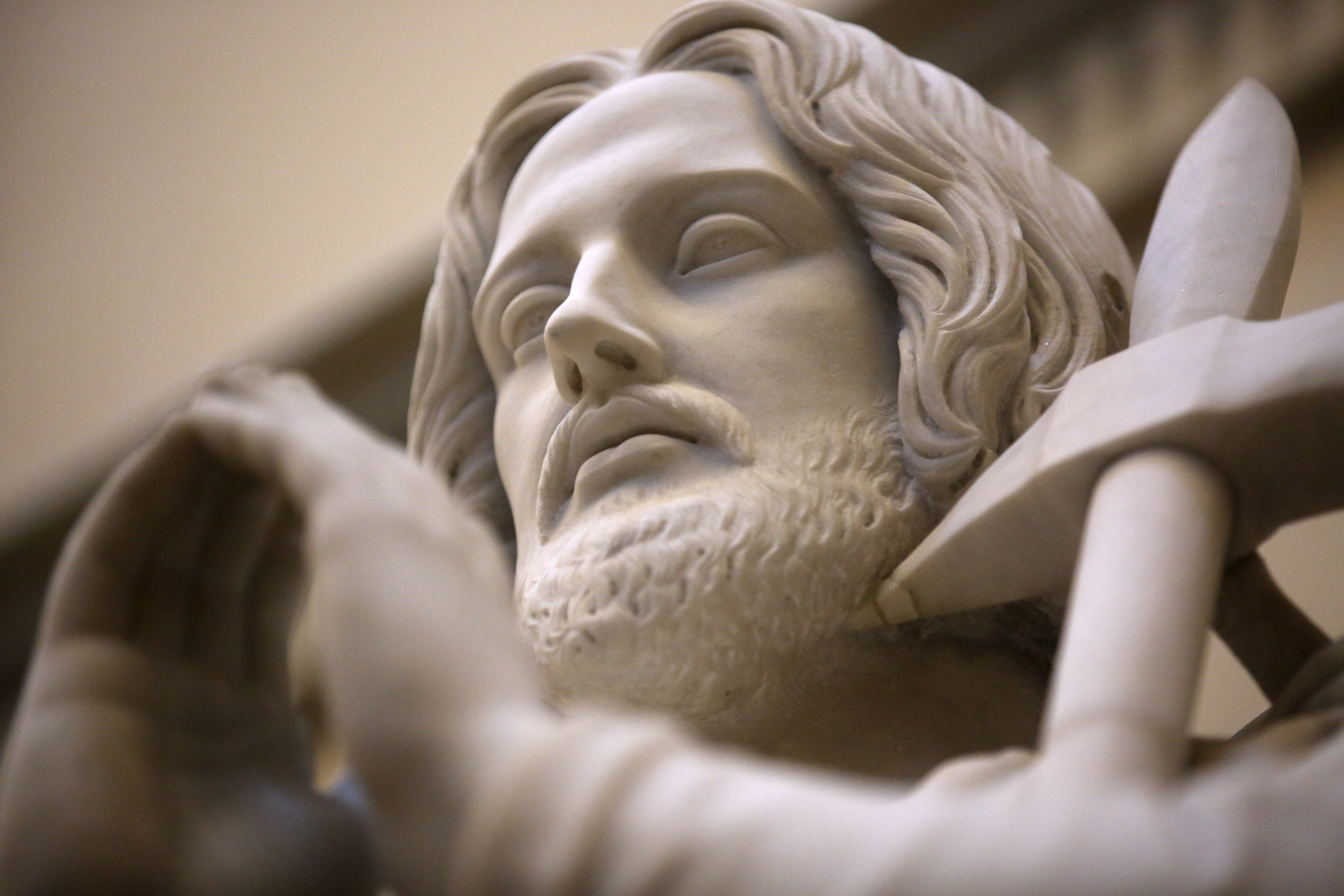 Judas Thaddeus, one of the 12 apostle statues by Danish sculptor Bertel Thorvaldsen, holds a halberd as a symbol of his martyrdom, at the Church of Our Lady in Copenhagen, Denmark, on Tuesday, Nov. 13, 2018. The statues were carved out of Carrara marble between 1829 and 1848. Replicas of the statues are now on display in the Rome Temple Visitors' Center in Italy.