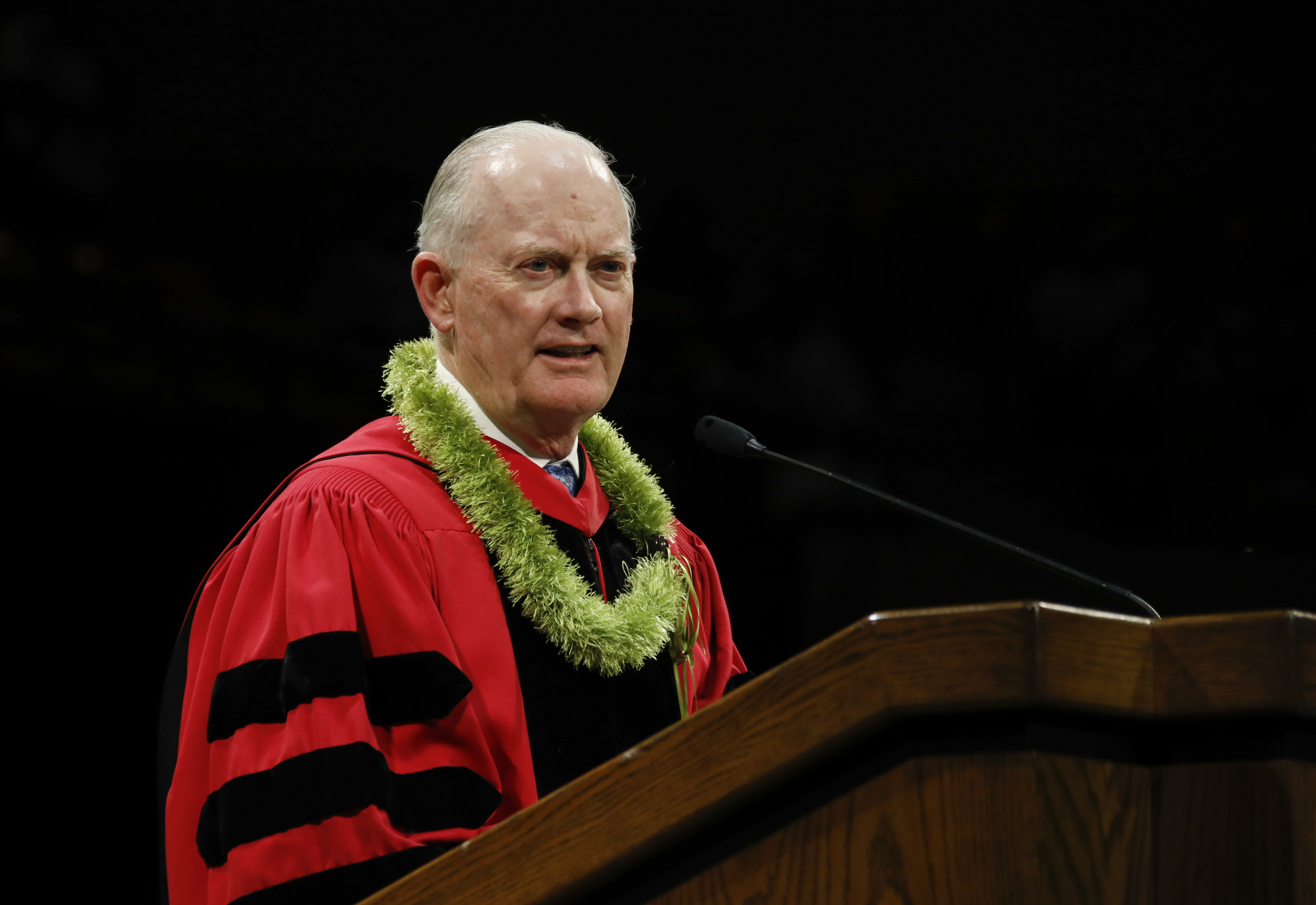Elder Kim B. Clark, General Authority Seventy and Commissioner of the Church Education System speaks to graduates during the BYU-Hawaii Winter Semester Commencement ceremony on April 20, 2019.