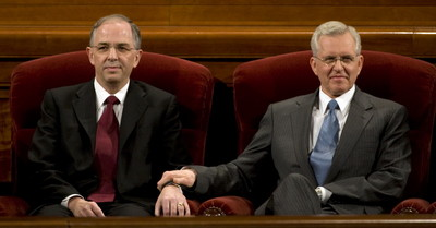 Elder Neil L. Andersen, left, the newly-named apostle of the Church of Jesus Christ of Latter-day Saints, takes his spot on the stand next to Elder D. Todd Christofferson of the Quorum of the Twelve Apostles during the 179th Annual General Conference of the Church of Jesus Christ of Latter-day Saints in Salt Lake City Saturday, April 4, 2009.