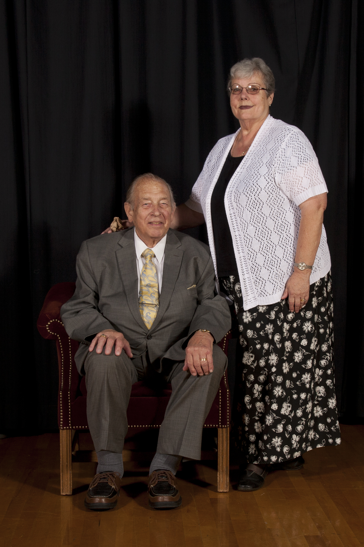 Bishop Volker Diethelm Hagen of the German Speaking Ward and his wife, Sister Gisa Hagen, pose for a photograph taken by former ward member Frank A. Langheinrich, who took a number of organizational photos for distribution on the ward's final day.