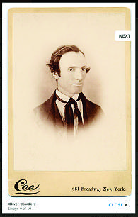 Clicking on image, such as this portrait of Oliver Cowdery, brings up an enlargement with high-resolution reproduction.