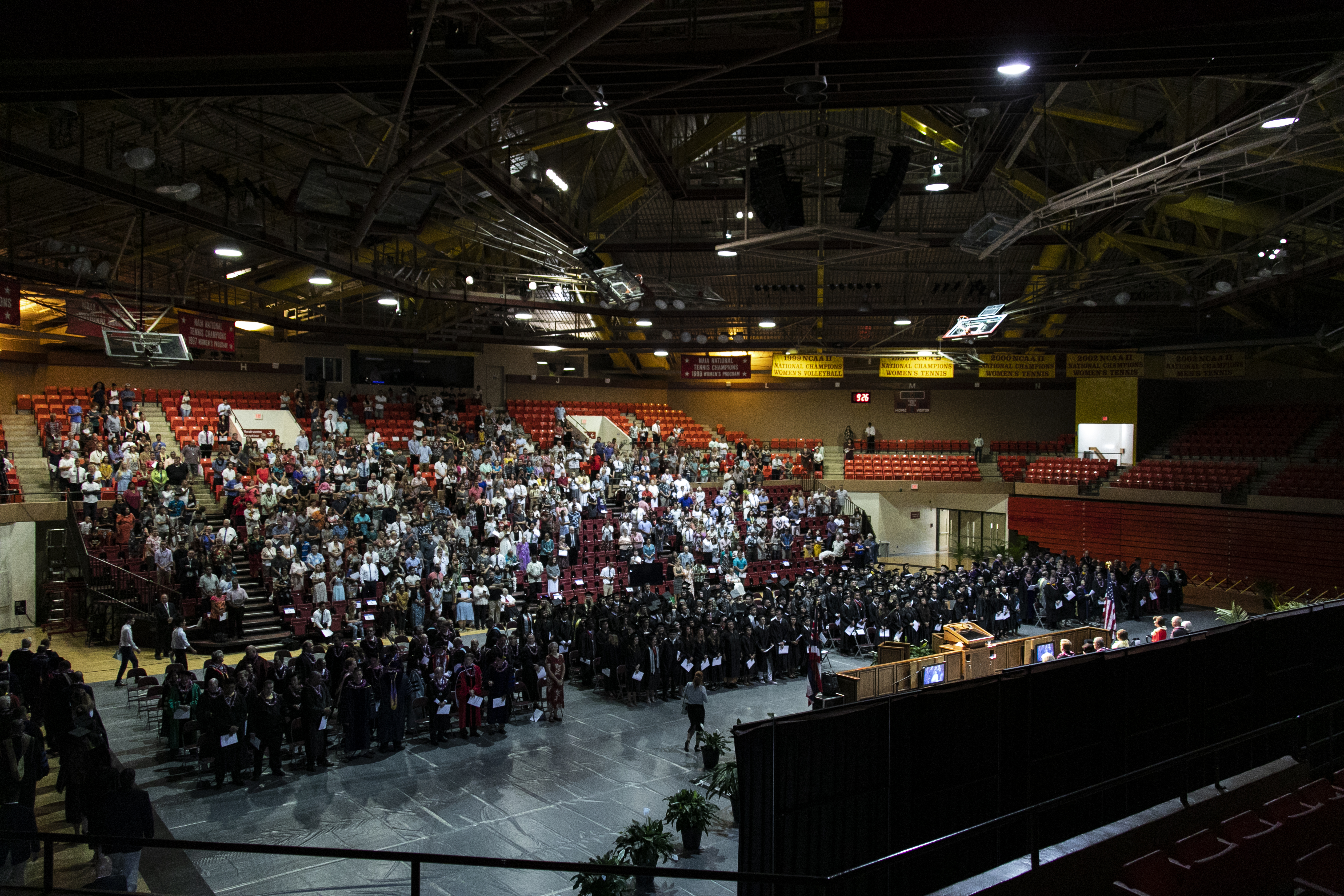 Graduates and their supporters meet in the Cannon Activities Center on the BYU-Hawaii campus for commencement on June 30.