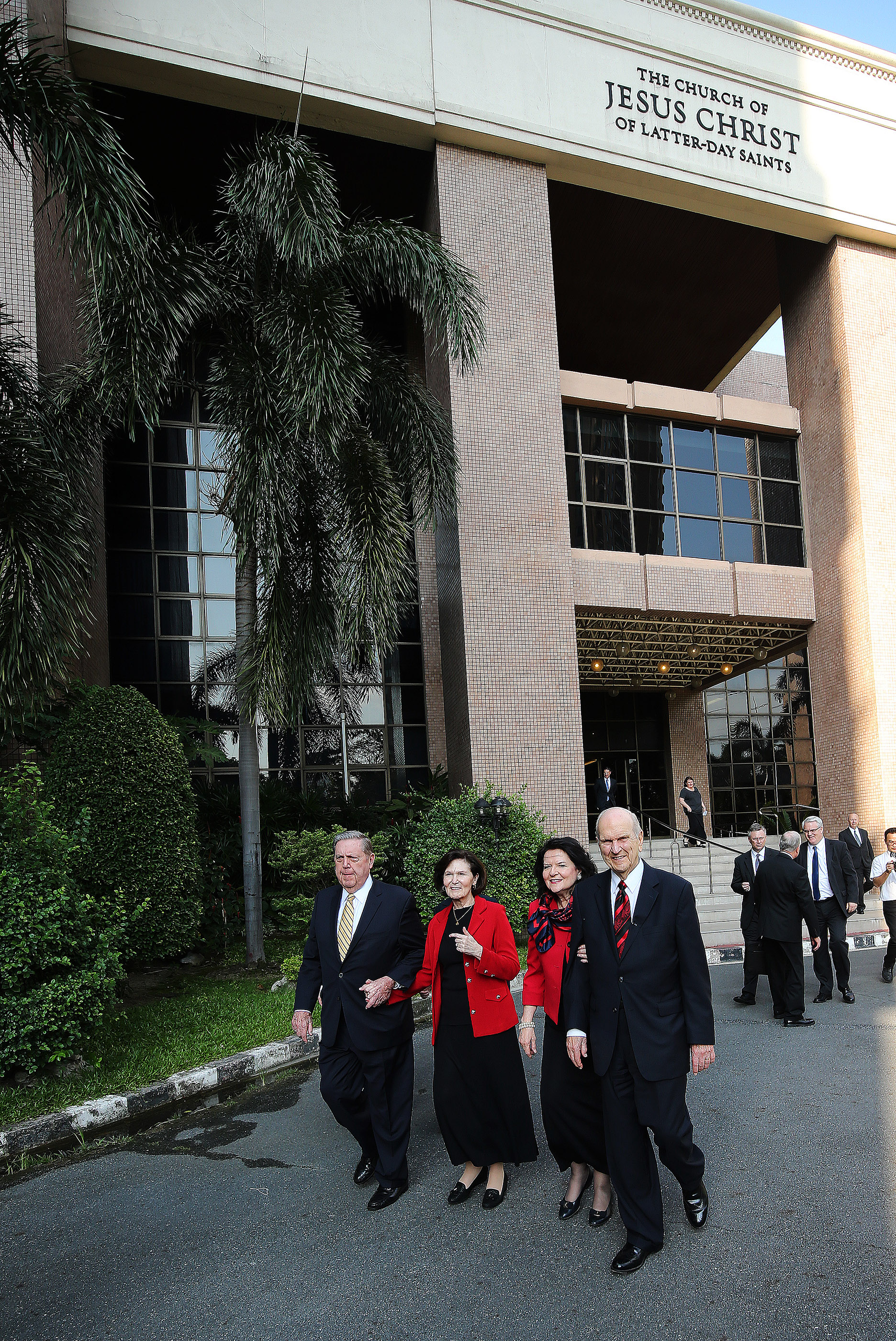President Russell M. Nelson, his wife, Sister Wendy Nelson, Elder Jeffrey R. Holland of the Quorum of the Twelve Apostles, and Sister Patricia Holland tour the Church site to be used for a temple in Bangkok, Thailand, on Friday, April 20, 2018.