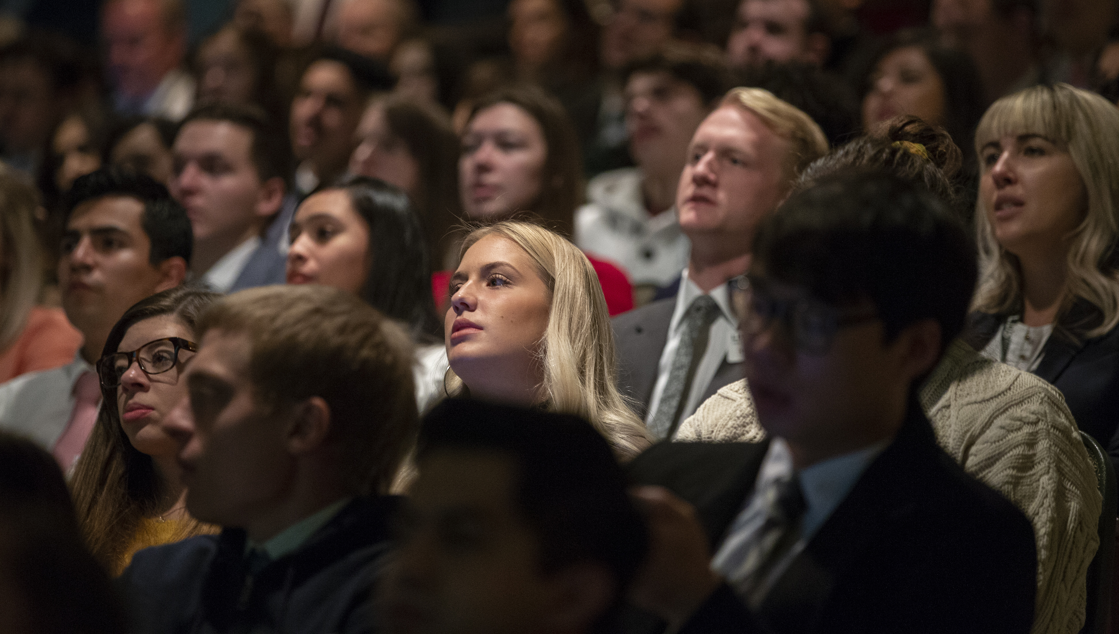 Audience members listen as President Henry B. Eyring speaks to LDS Business College students during a devotional in the Conference Center theater in Salt Lake city on Tuesday, Nov. 6, 2018.