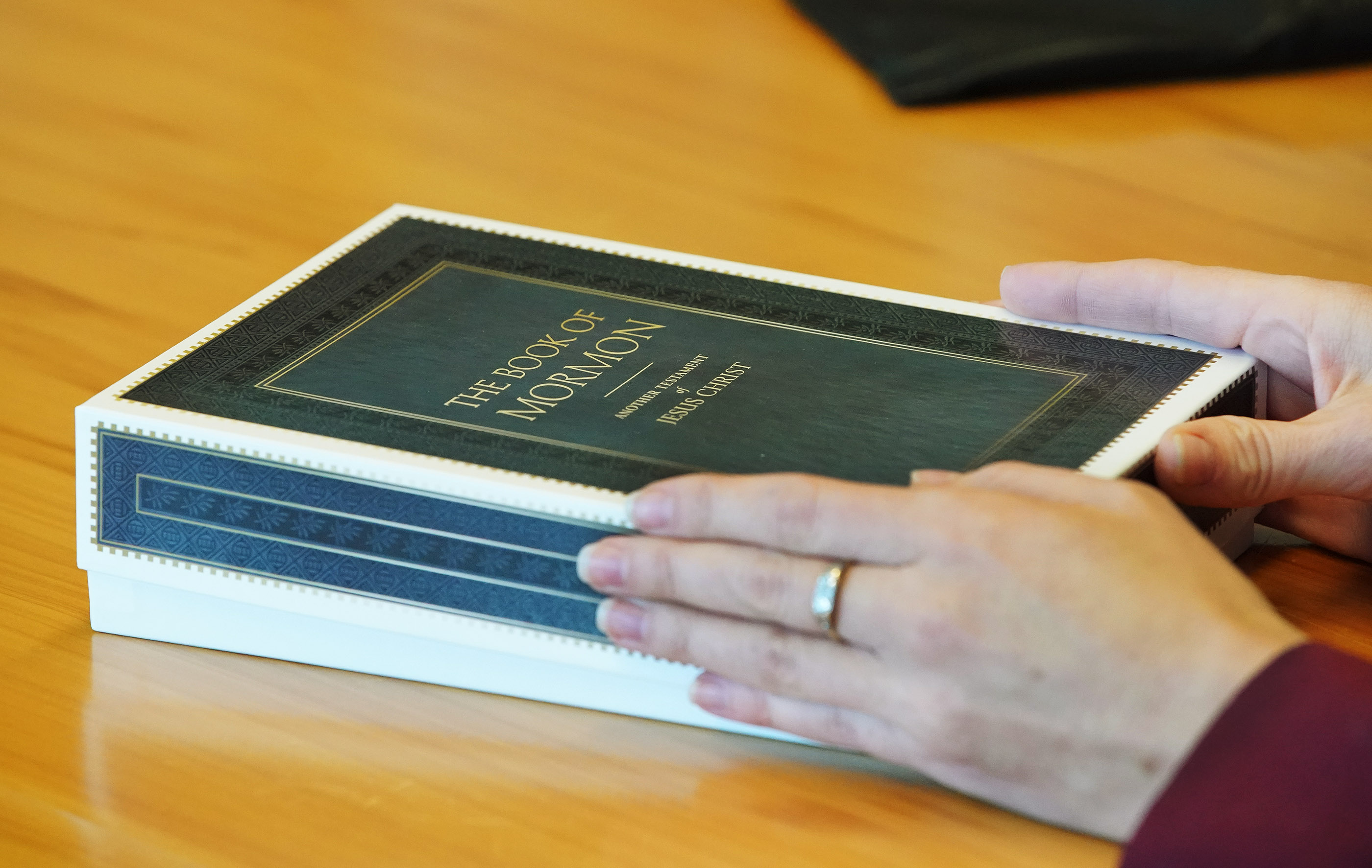 The personalized Book of Mormon given by President Russell M. Nelson of The Church of Jesus Christ of Latter-day Saints to New Zealand Prime Minister Jacinda Ardern in Wellington, New Zealand, on Monday, May 20, 2019.