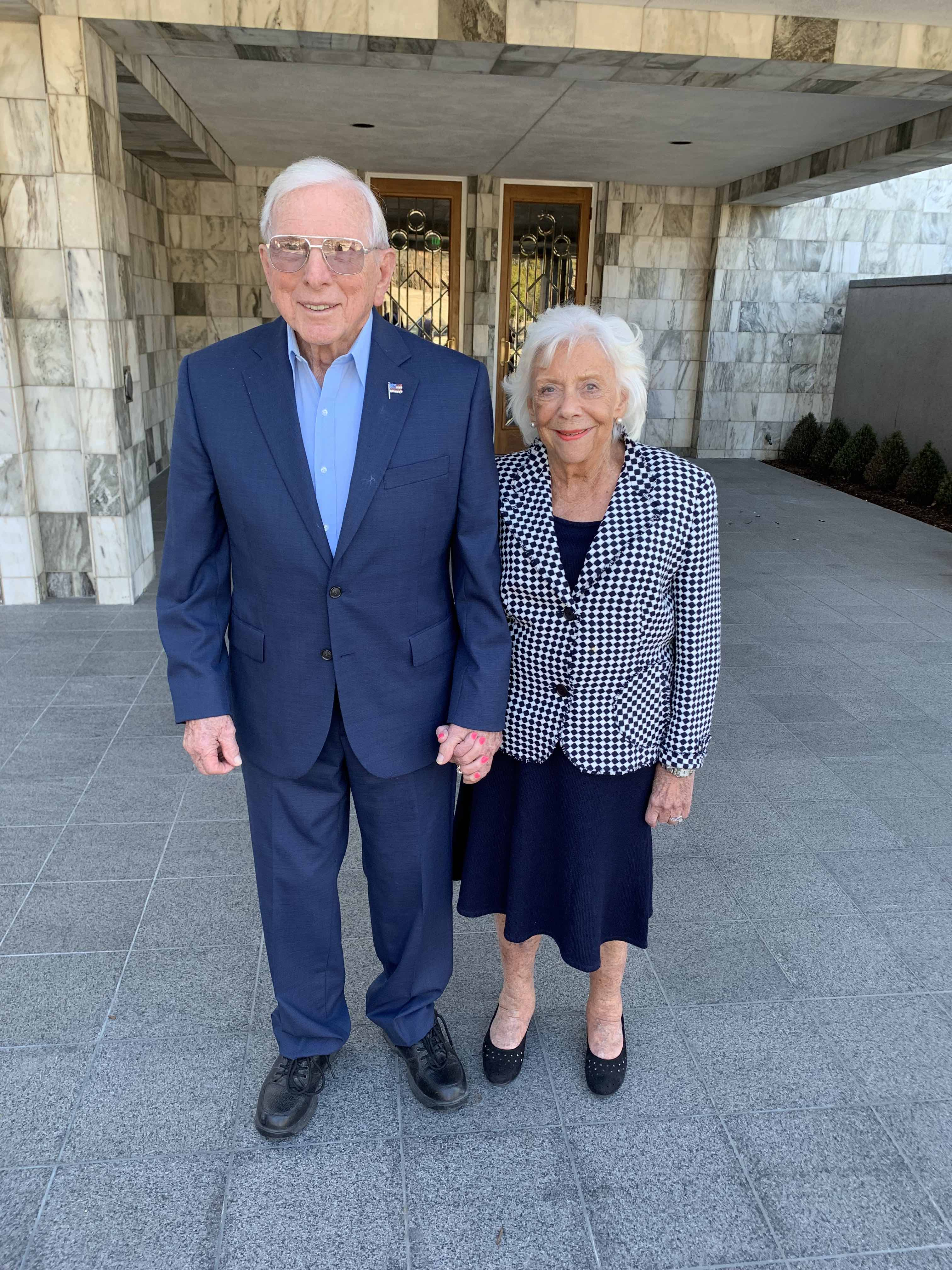 Bud and Shirley Anderson are photographed on the day of their sealing.