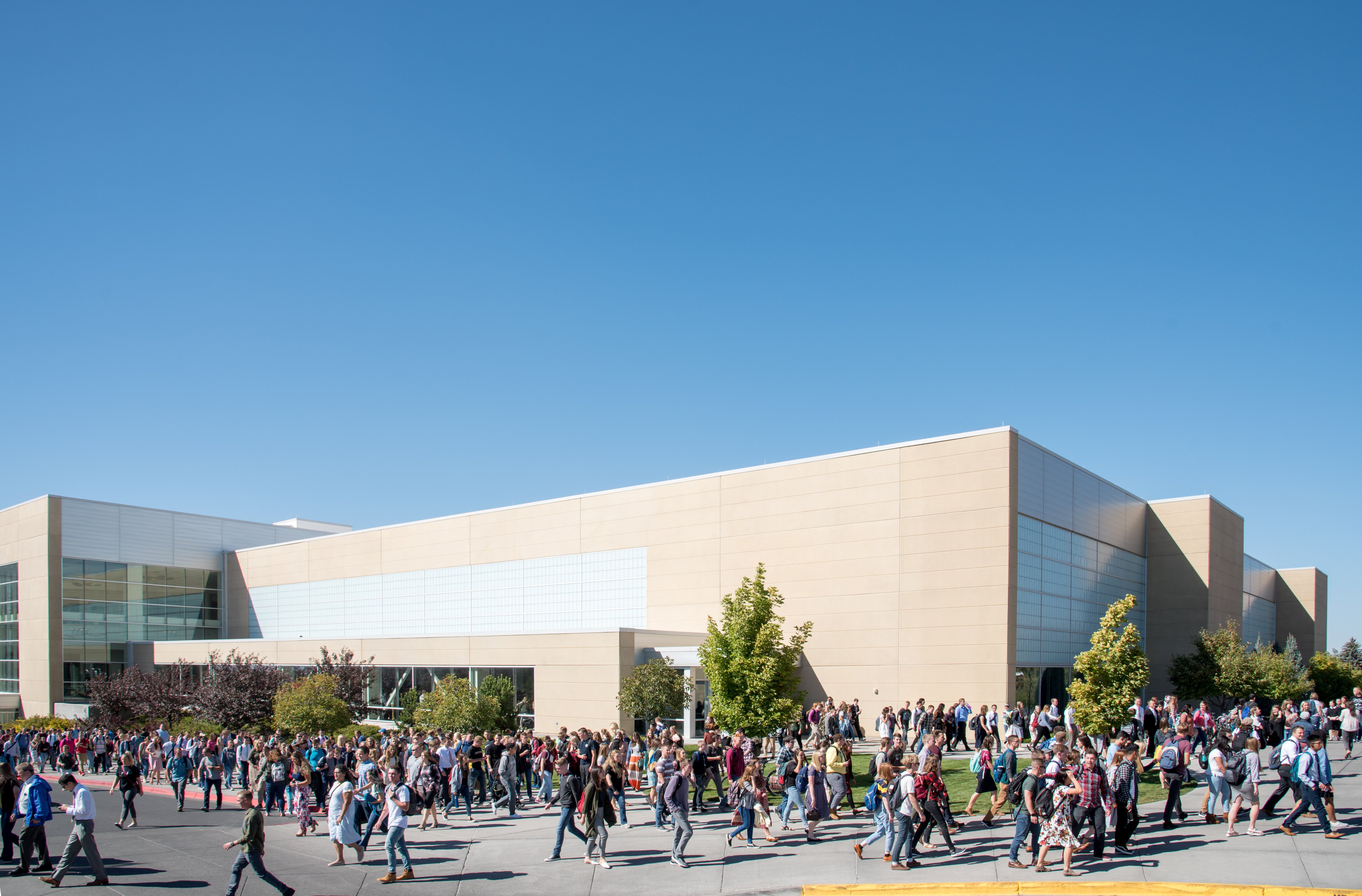 Students walk out of the BYU-Idaho Center in Rexburg, Idaho, following the first devotional of Fall semester on Sept. 18, 2018.