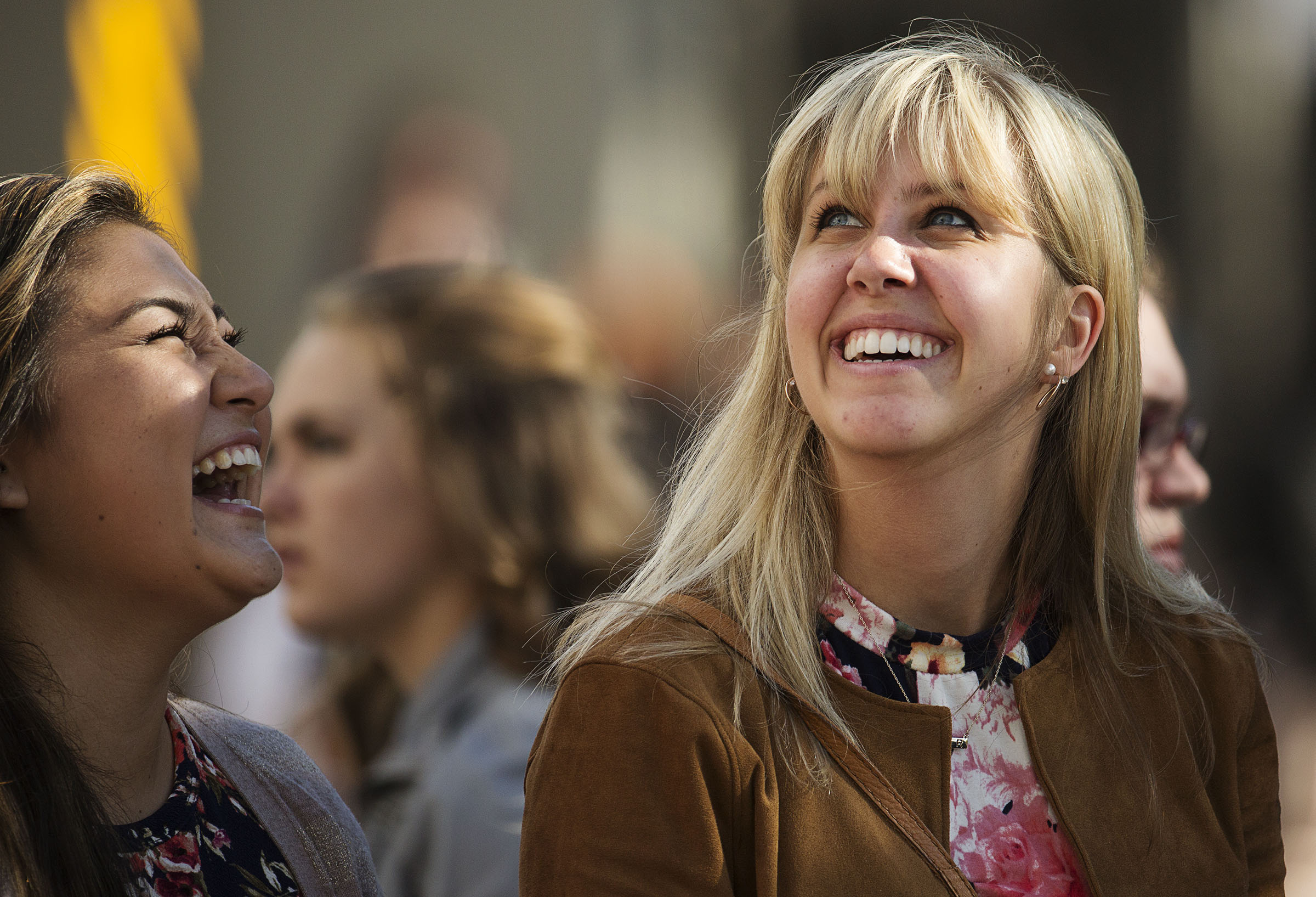 Women smile as they arrive at the Conference Center for the General Women's Session of the 186th Semiannual General Conference in Salt Lake City, Saturday, Sept. 24, 2016. In 2019, an lds.org article outlined how women are essential participants of the priesthood.