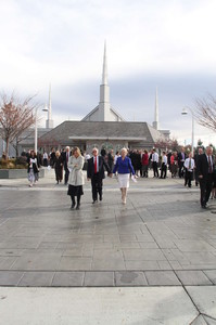 Members of the Church leave the Boise Idaho Temple on Sunday, Nov. 18, after it was rededicated by President Thomas S. Monson.