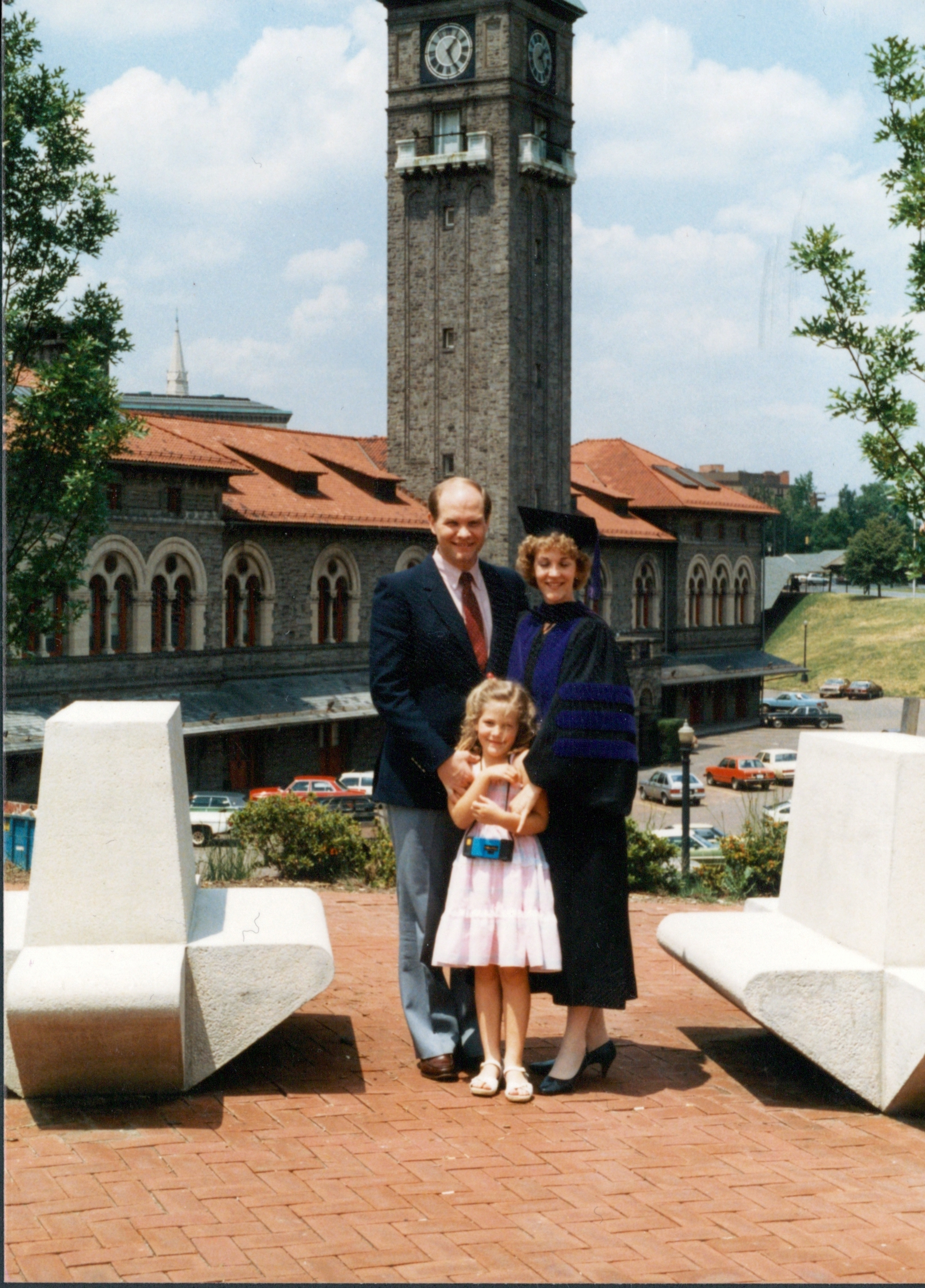 Elder Dale G. Renlund and his wife, Sister Ruth Renlund, and their daughter, Ashley, on the day Sister Renlund graduated from law school.