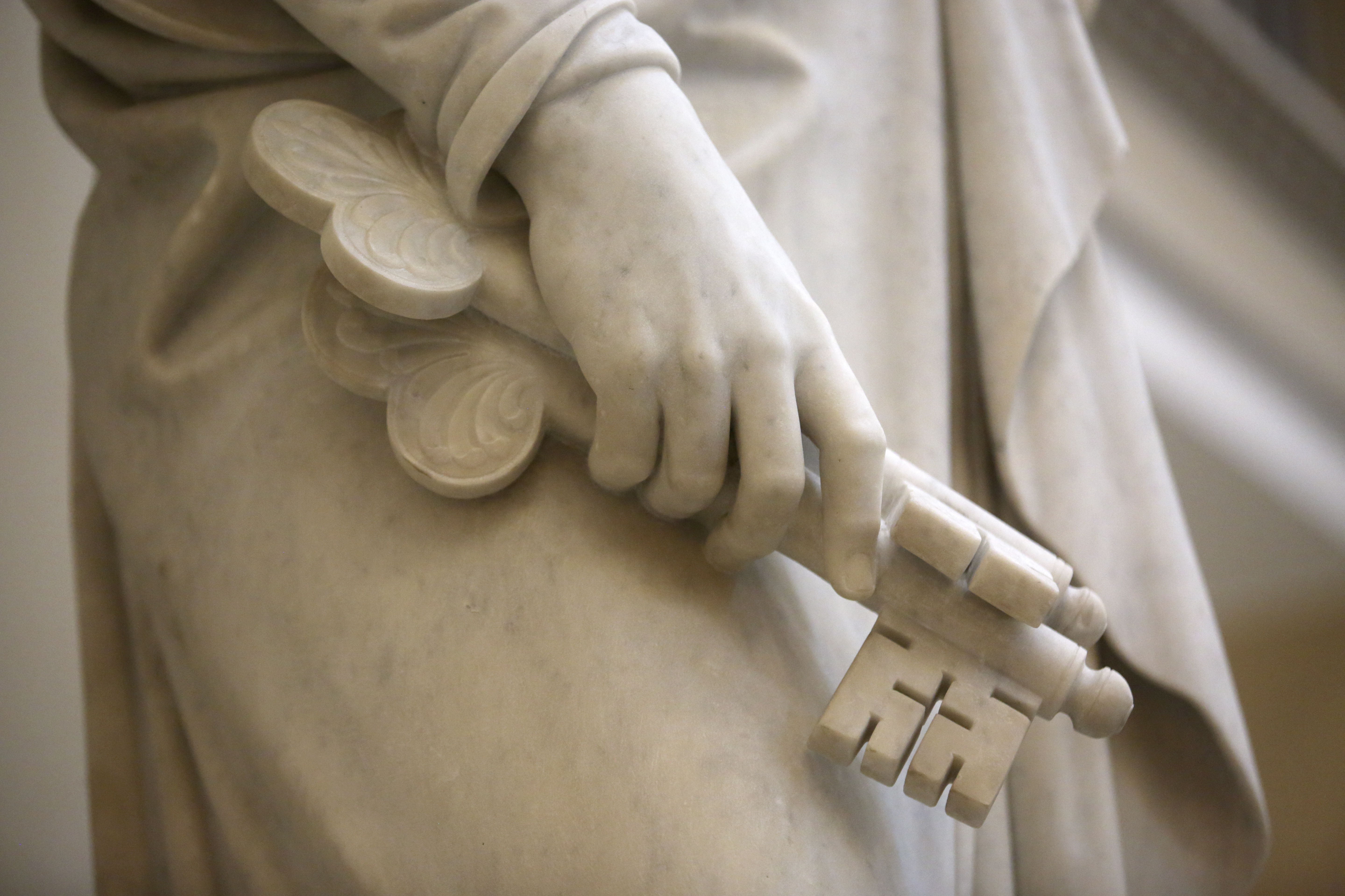Bertel Thorvaldsen's statue of Peter, one of the 12 apostles, holds keys at the Church of Our Lady in Copenhagen, Denmark, on Tuesday, Nov. 13, 2018. The 12 apostles statues were carved out of Carrara marble between 1829 and 1848. Replicas of the statues are now on display in the Rome Temple visitors' center in Italy.