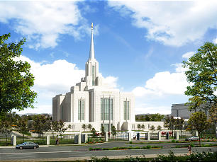A rendering depicting renovations planned for the Ogden Utah Temple.