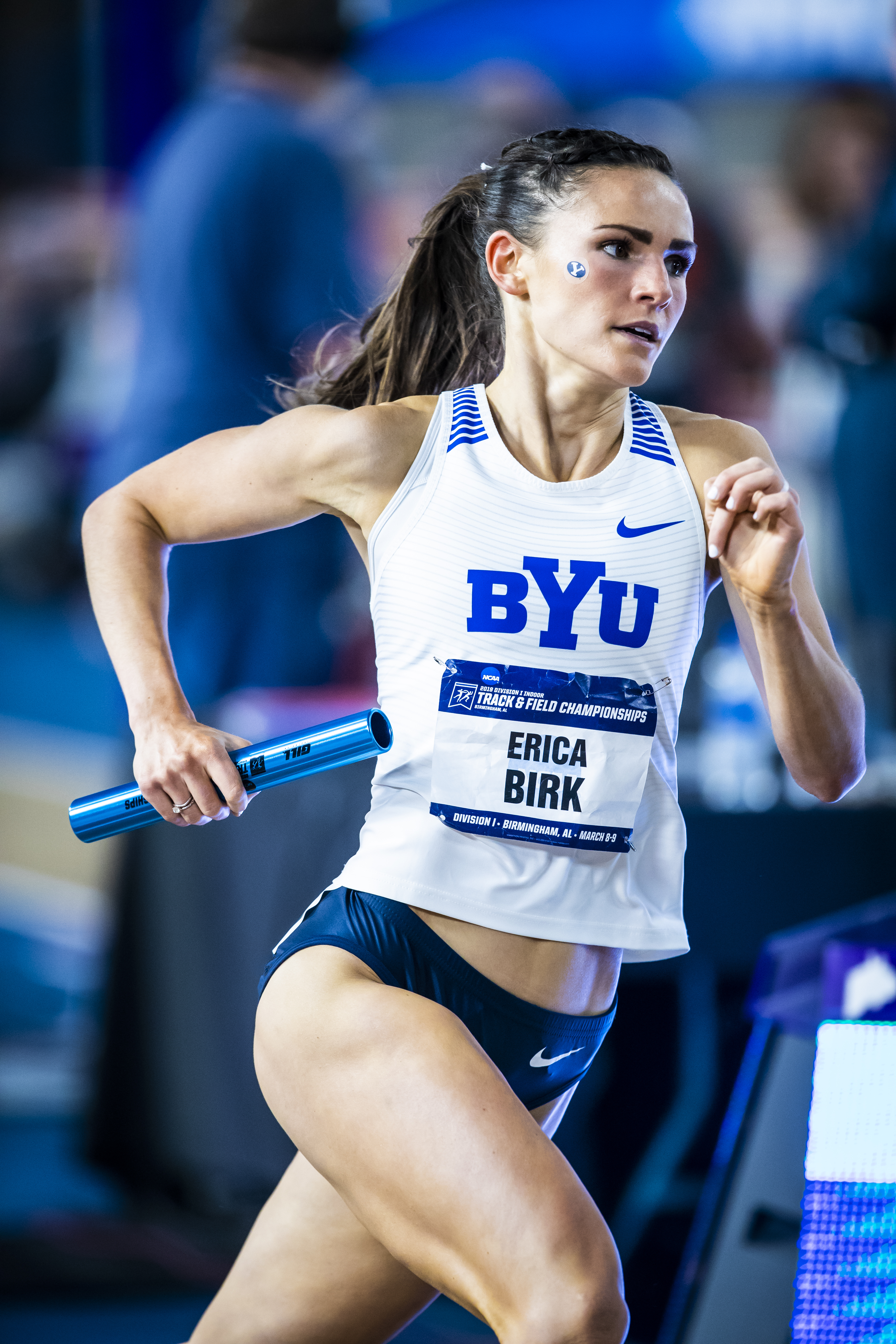 BYU distance runner Erica Birk-Jarvis claimed multiple All America honors at the 2019 NCAA Indoor Track and Field Championships. She is a returned missionary and a mother.