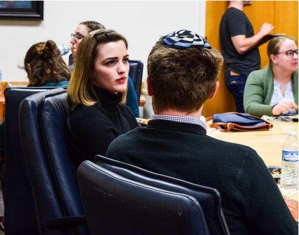 Rabbi Samuel L. Spector speaks with BYU freshman Janai Wright at an event held by the BYU Interfaith Club on Oct. 16, 2018.