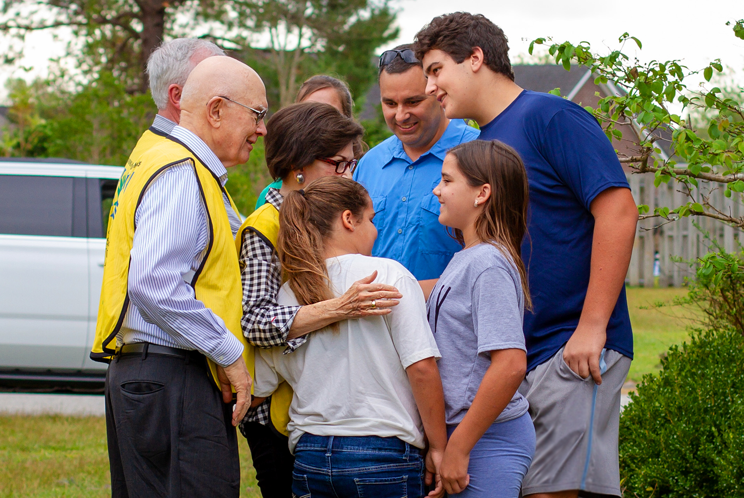 President Dallin H. Oaks, first counselor in the First Presidency of the Church, and his wife, Sister Kristen Oaks, meet with and comfort people impacted by Hurricane Florence a few weeks ago.