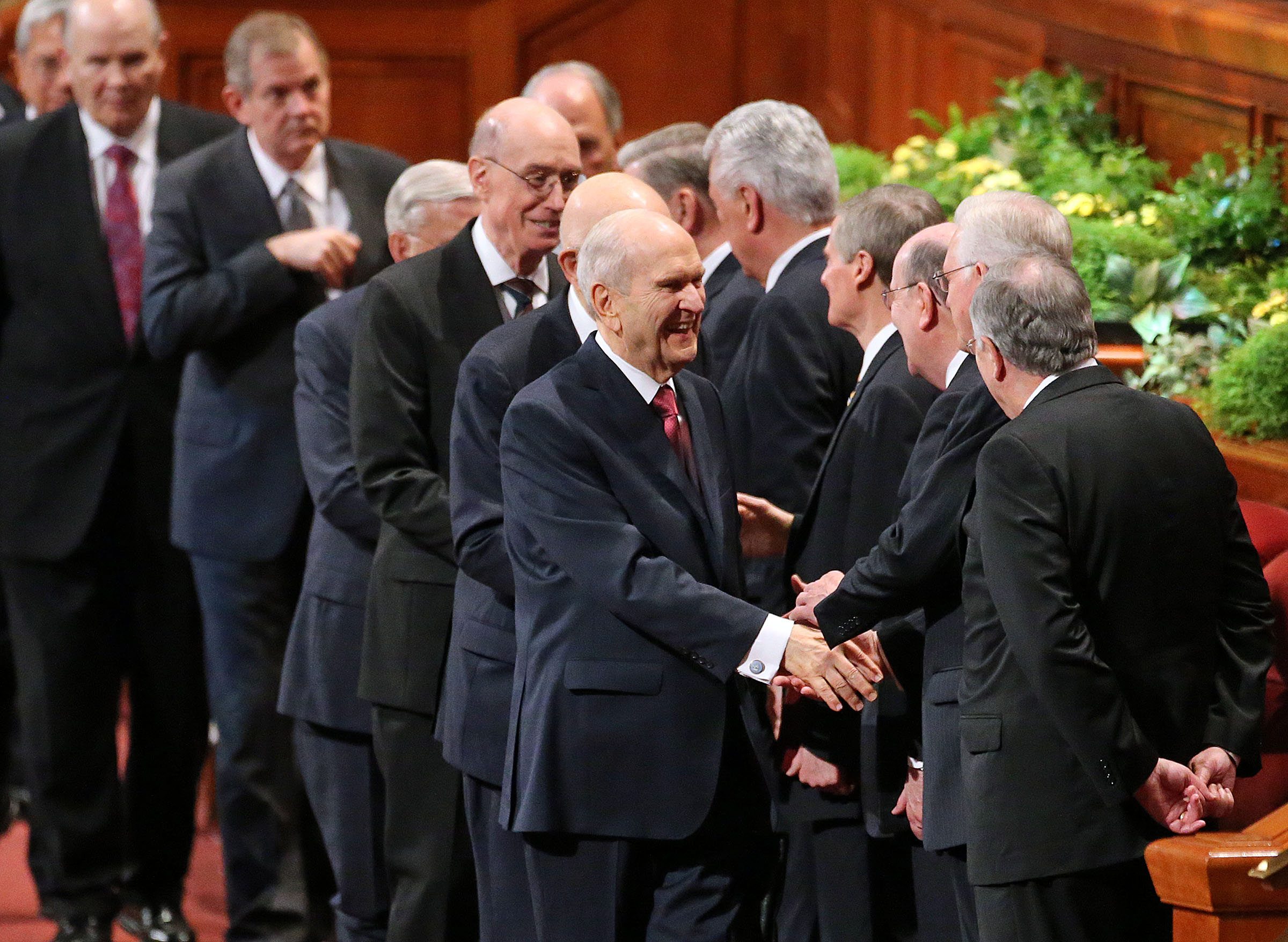 LDS Church President Russell M. Nelson leaves the Sunday morning session of the 188th Annual General Conference of The Church of Jesus Christ of Latter-day Saints at the Conference Center in Salt Lake City on Sunday, April 1, 2018.