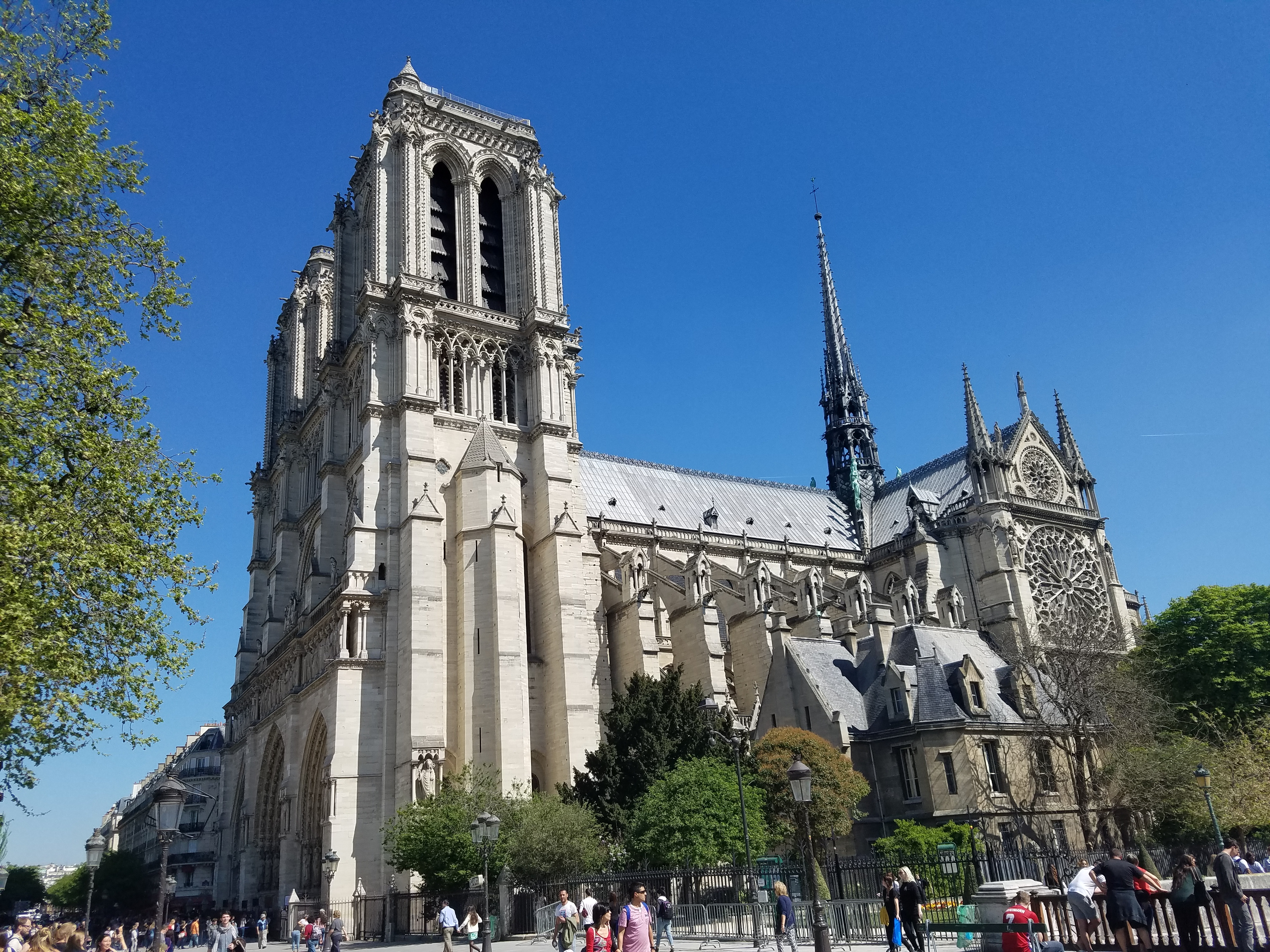 A side view of Notre Dame in April 2017.
