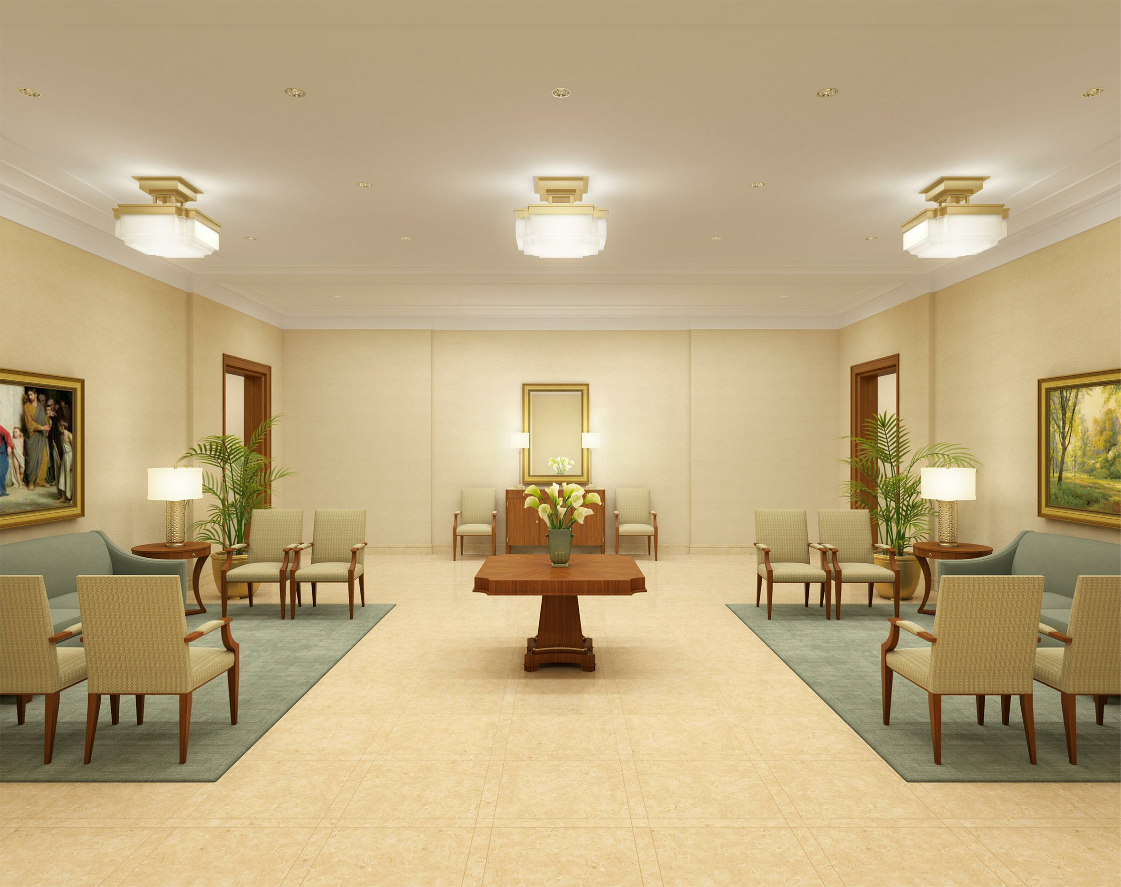 Rendering of lobby of Hamilton New Zealand Temple after renovation.