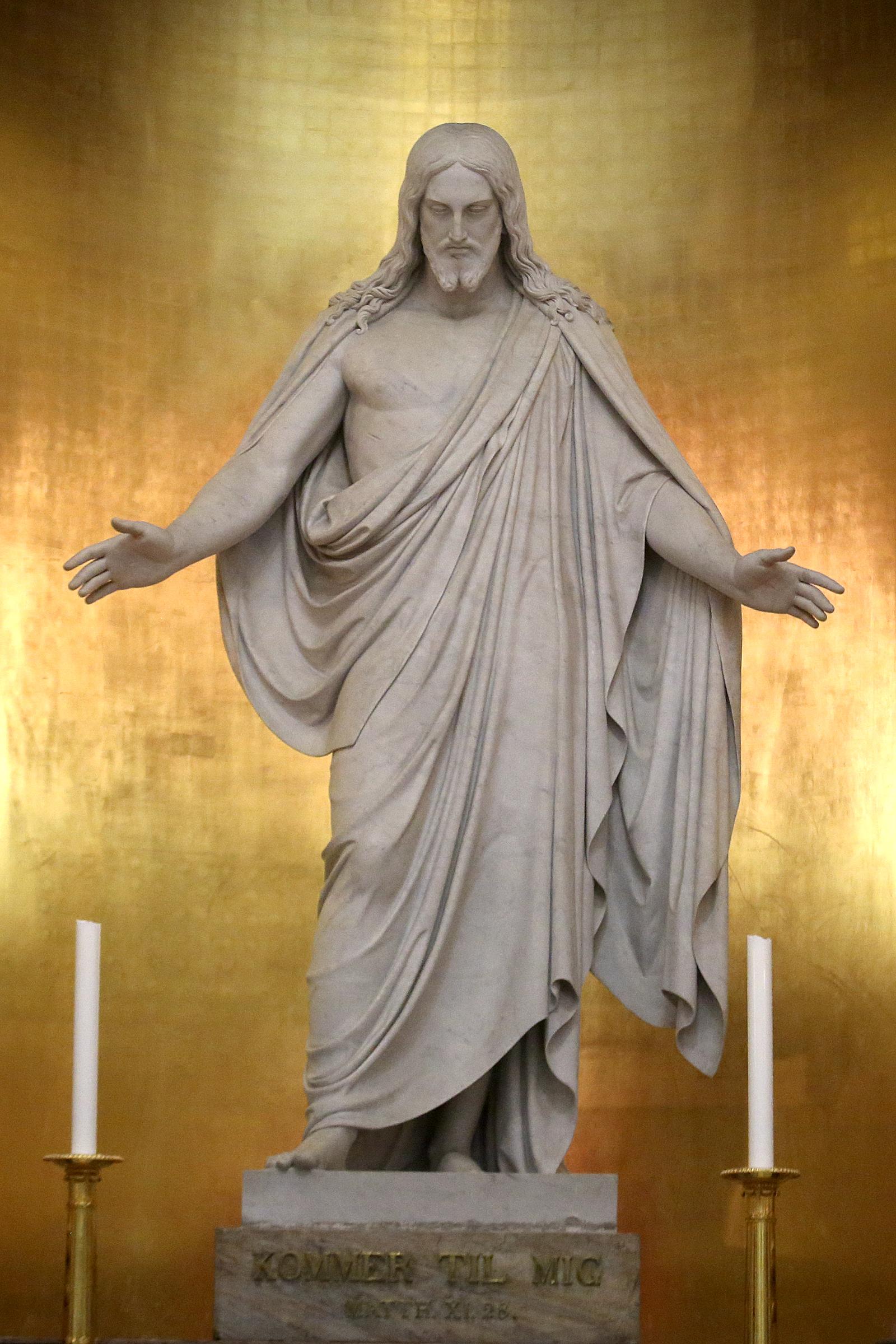Bertel Thorvaldsen's original Christus statue is in the Church of Our Lady in Copenhagen, Denmark, on Tuesday, Nov. 13, 2018.