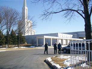 Elder M. Russell Ballard visits with members outside the Toronto Ontario Temple.