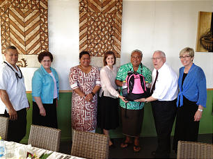 Sister Rosemary Wixom and Sister Linda Burton visit New Zealand, Samoa, Tonga and American Samoa in Feb. 2013.