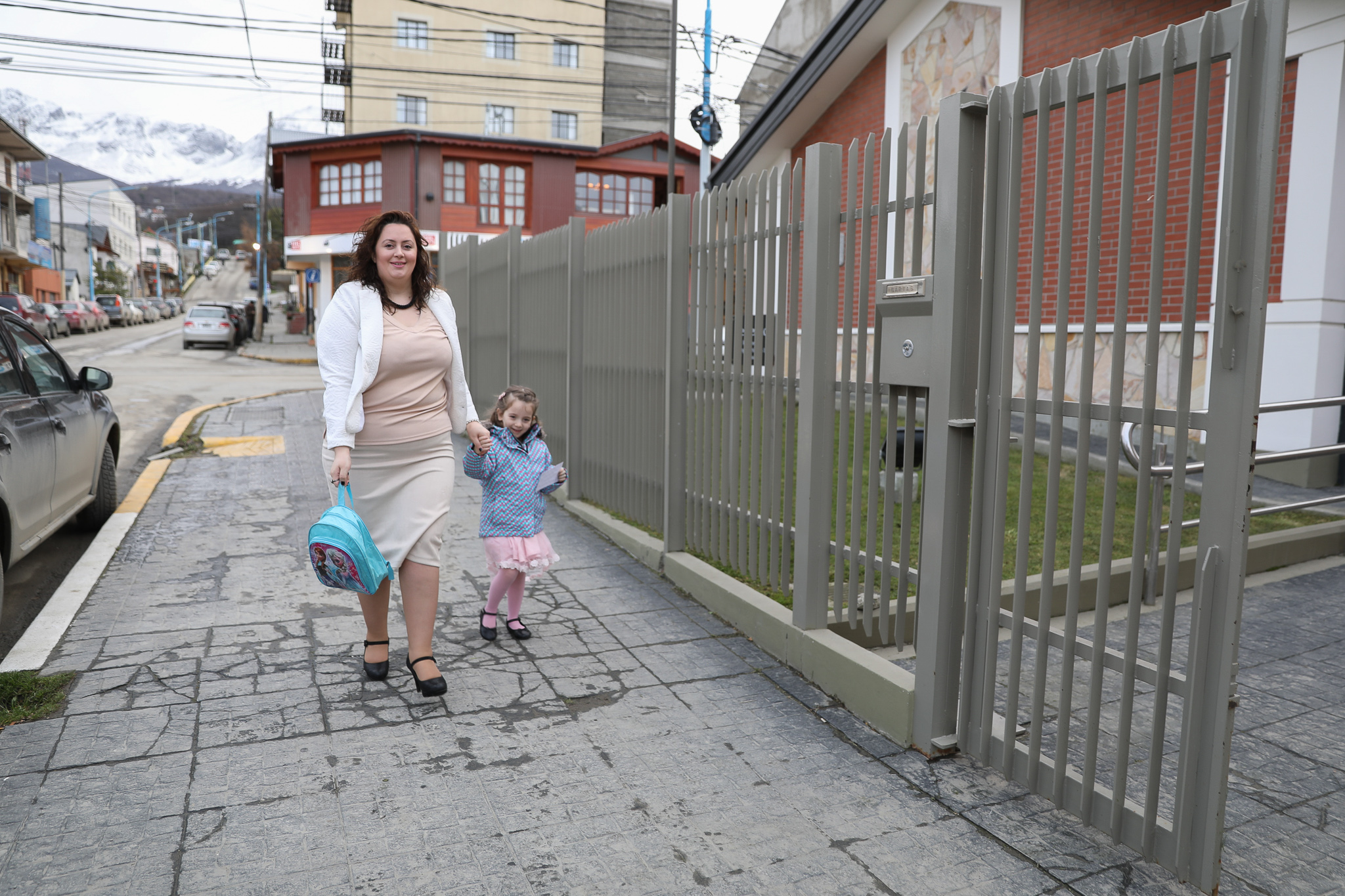 A mother and daughter make their way to the stake center in Ushuaia, Argentina on June 2, 2019 for the meeting where the new Tierra del Fuego Argentina Stake was created.