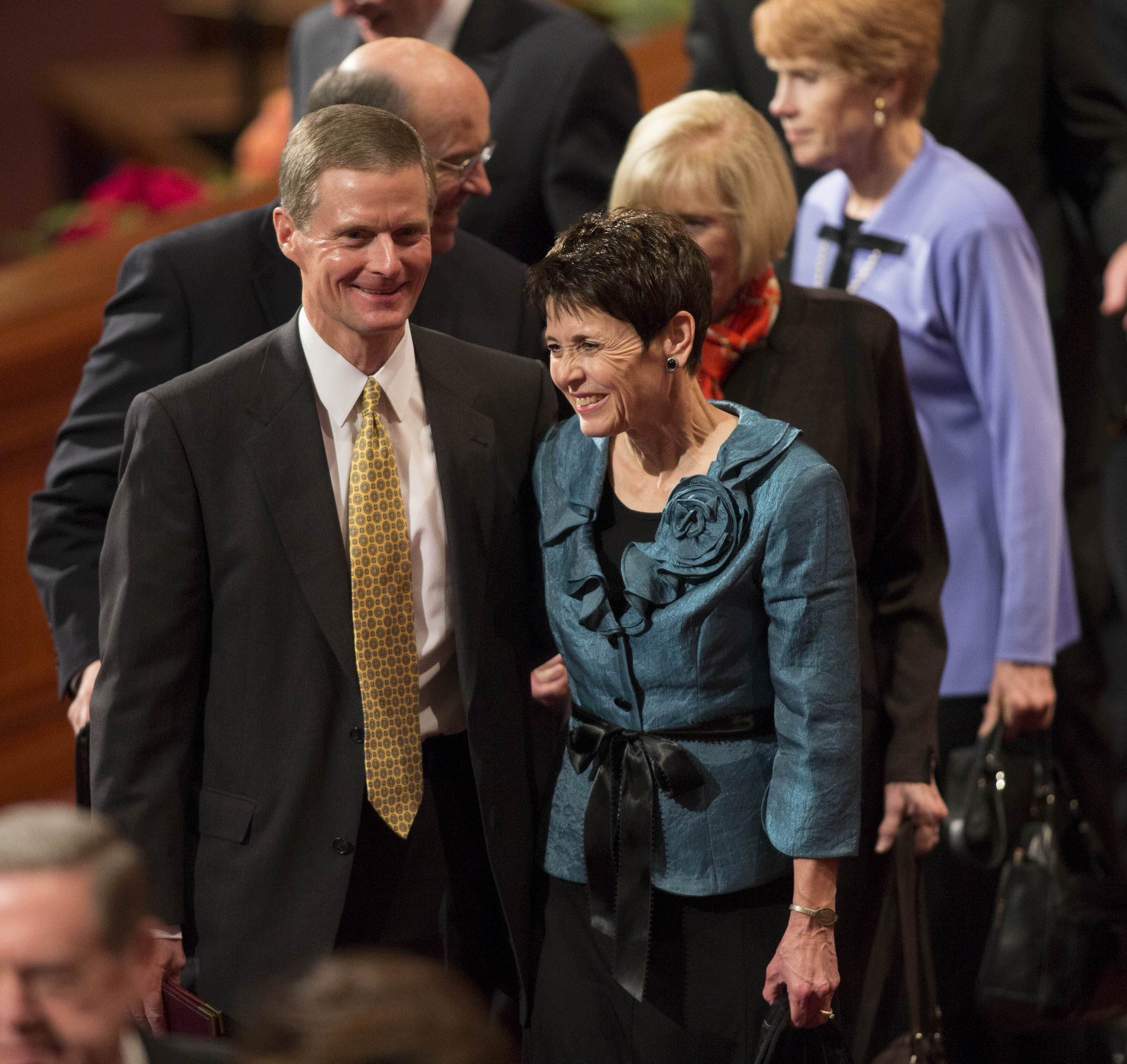 Elder David A. Bednar and his wife, Sister Susan Kae Bednar, exit the stand following the Sunday afternoon session of the 183rd Semiannual General Conference on Sunday, Oct. 6, 2013, inside the Conference Center.