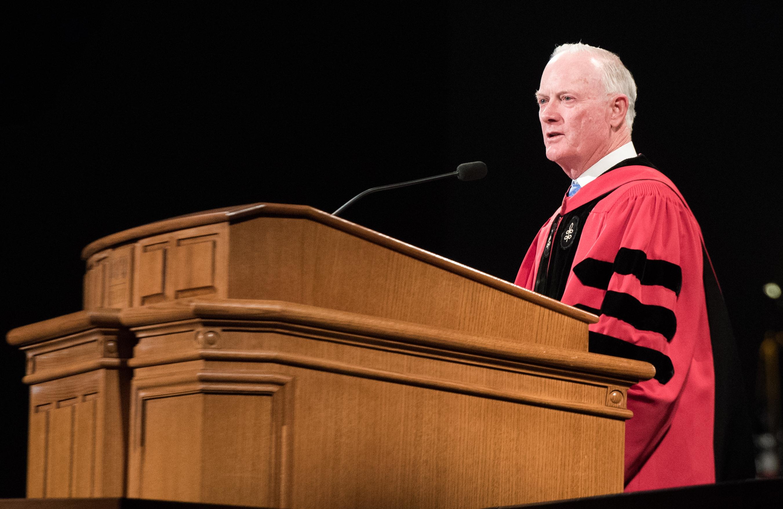 Elder Kim B. Clark addresses the graduates during BYU-Idaho Winter Commencement on April 12, 2019.
