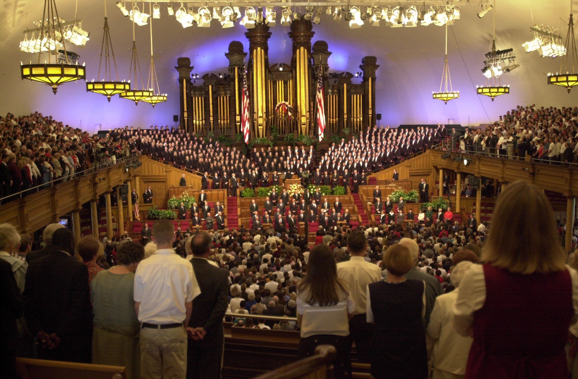 Thousands of people gathered in the Tabernacle on Temple Square for one of two National Day of Prayer services on Sept. 14, 2001. The services memorialized those killed in terrorist attacks on Sept. 11, and featured prayers for comfort and healing.