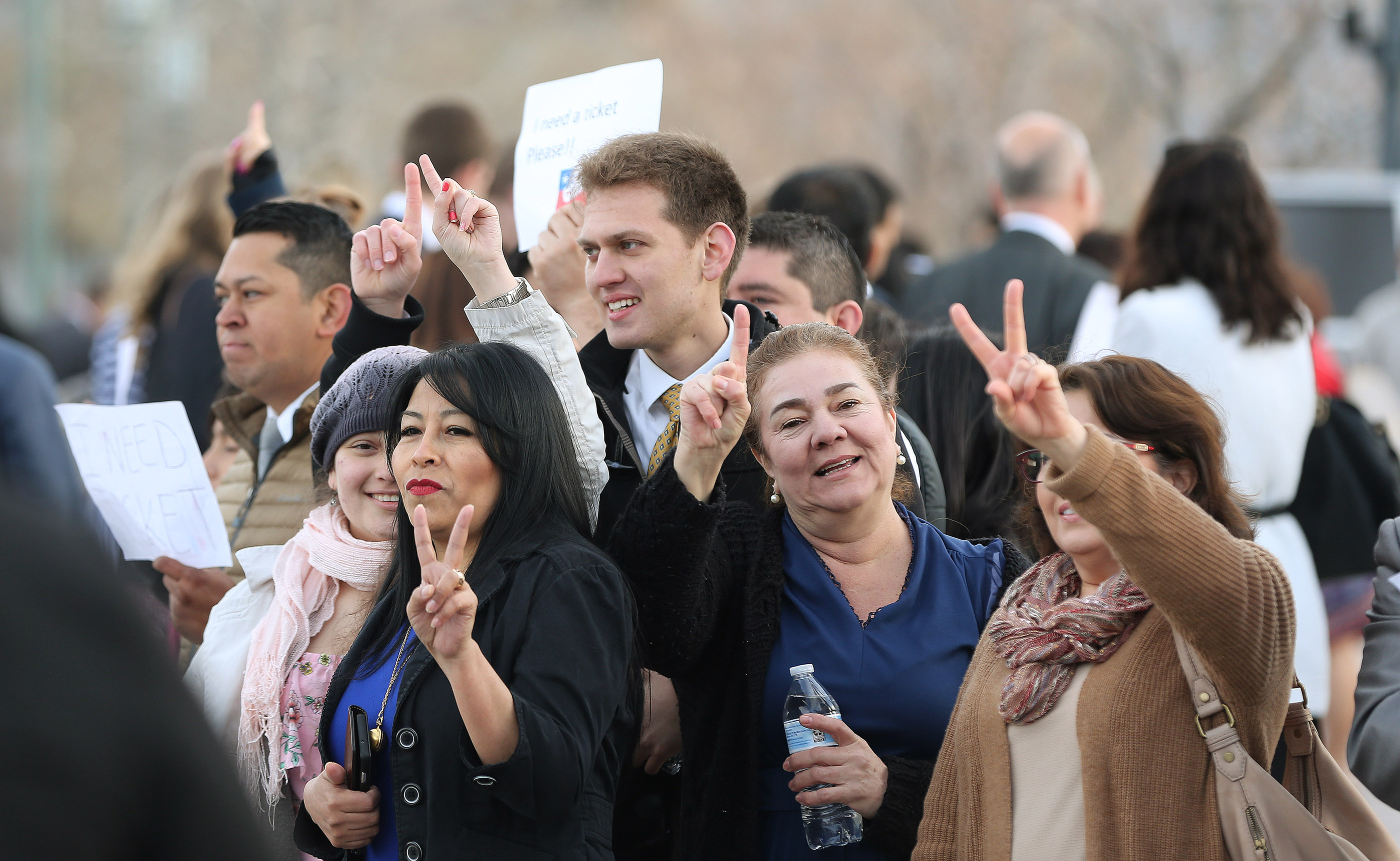 Conferencegoers ask for extra tickets outside the Conference Center for the 189th Annual General Conference of The Church of Jesus Christ of Latter-day Saints in Salt Lake City on Sunday, April 7, 2019.