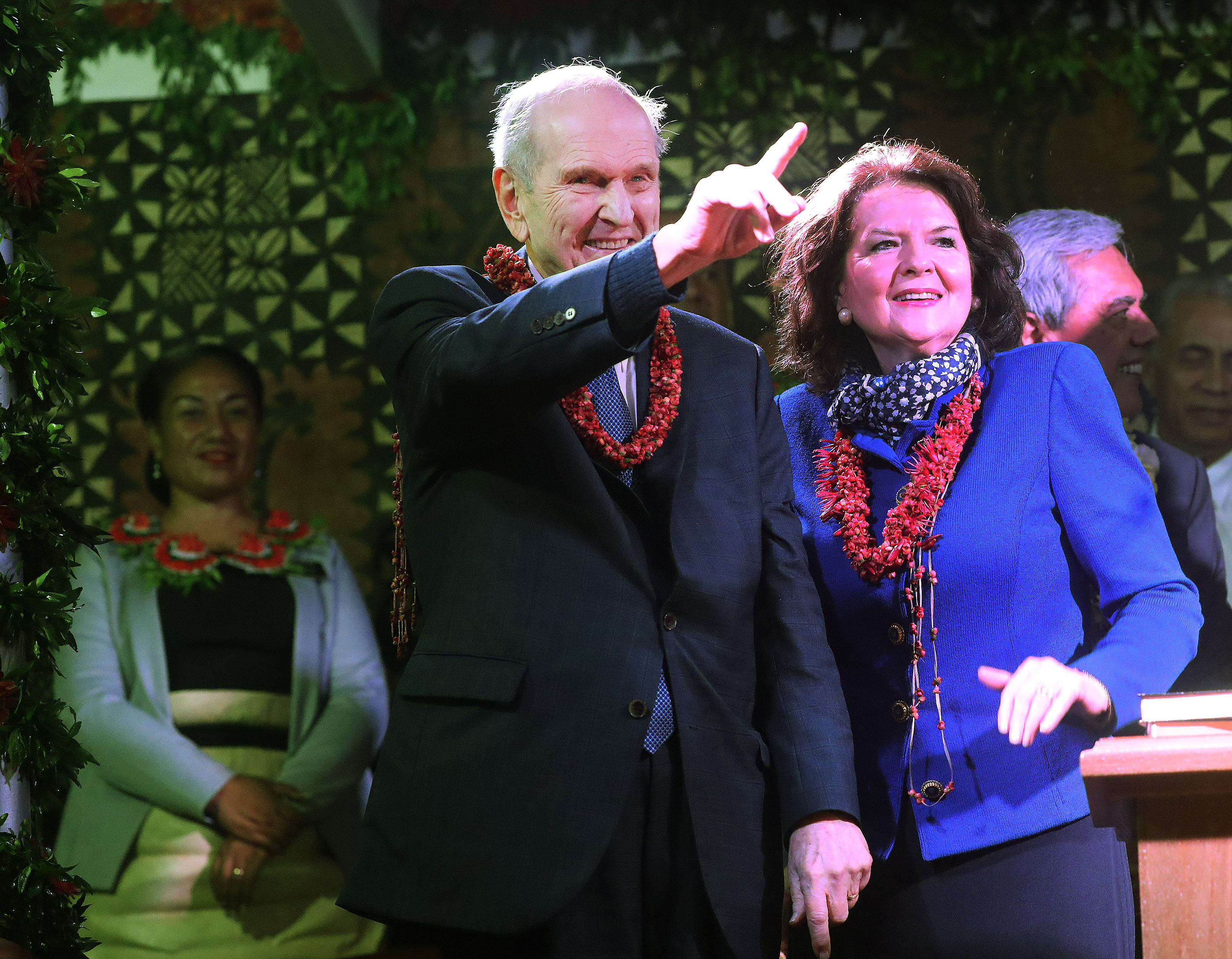 President Russell M. Nelson of The Church of Jesus Christ of Latter-day Saints and his wife, Sister Wendy Nelson, wave after a devotional in Nuku'alofa, Tonga, on May 23, 2019.