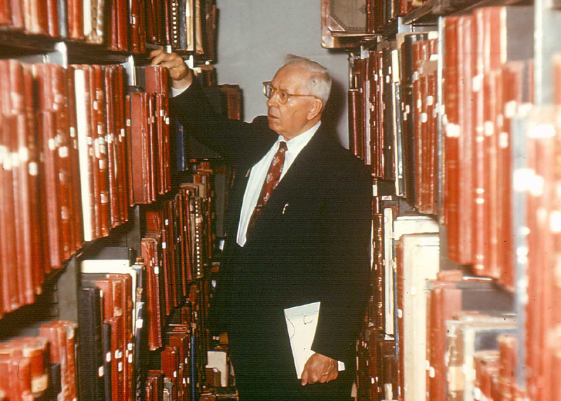 Joseph Fielding Smith served as head of the Church Historian's office from 1921-1970. Here he searches the archives.