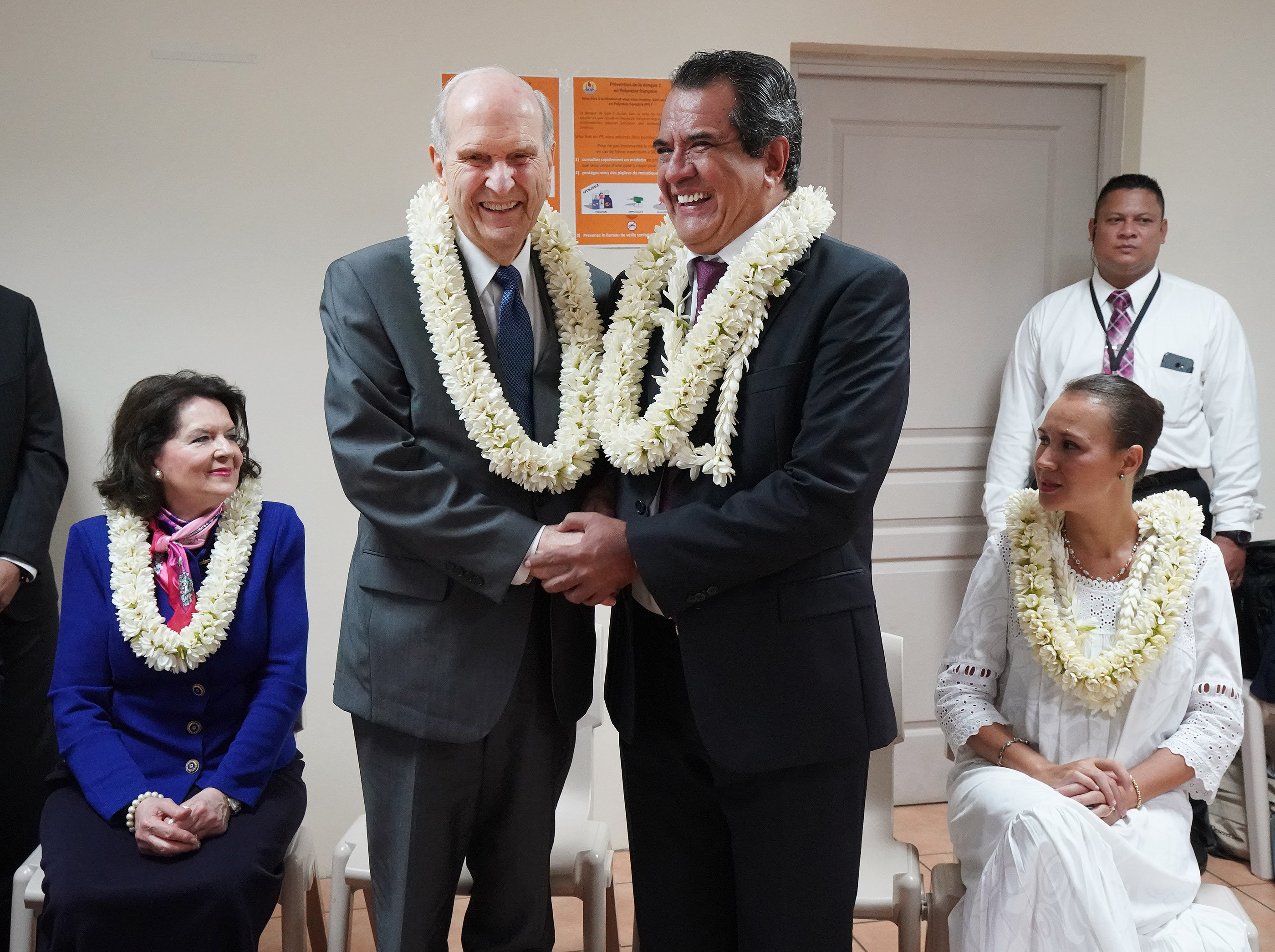 President Russell M. Nelson of The Church of Jesus Christ of Latter-day Saints, left, and French Polynesia President Edouard Fritch greet in Papeete, Tahiti, on May 24, 2019.