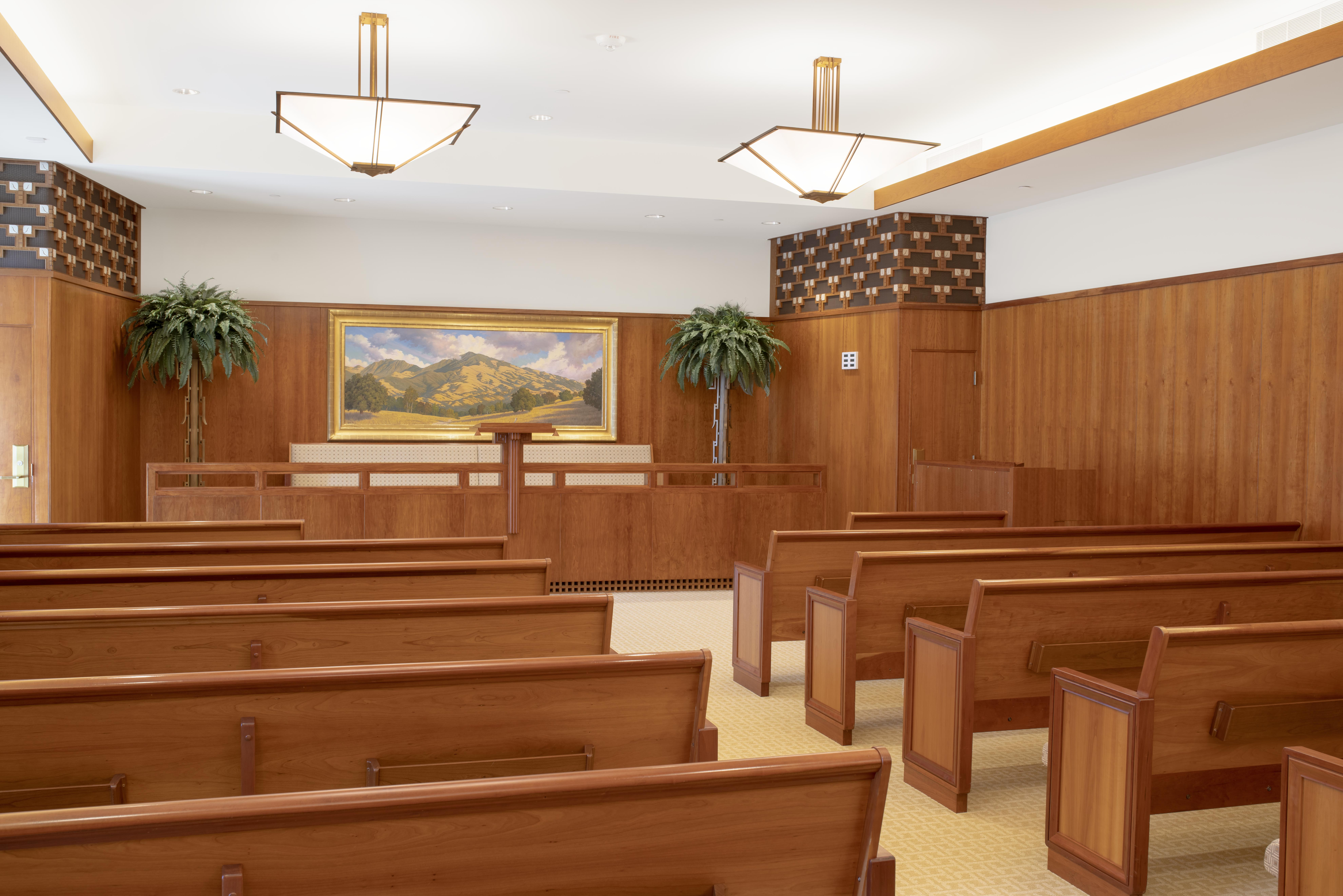 One of two chapels in the Oakland California Temple. This is the north chapel.