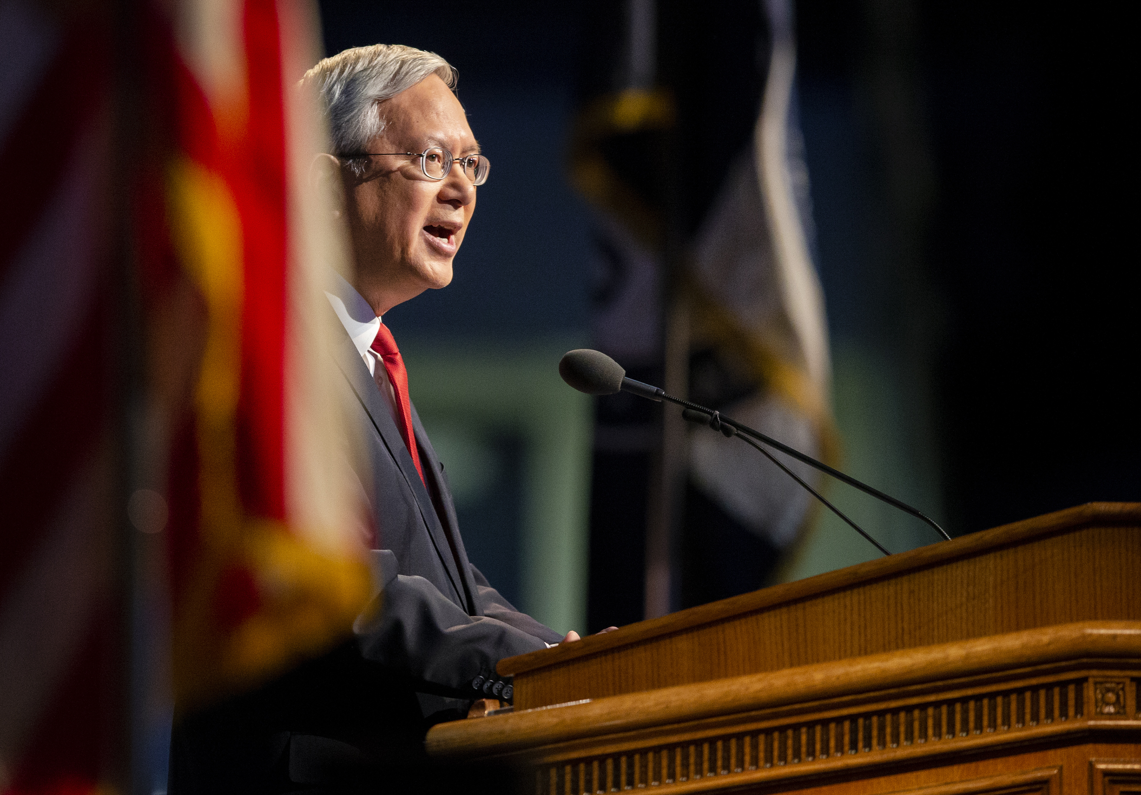Elder Gerrit W. Gong of the Quorum of the Twelve Apostles speaks at BYU during a campus devotional on Tuesday, Oct. 16, 2018.