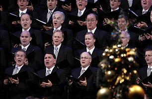 Members of the Mormon Tabernacle Choir sing during the annual First Presidency Devotional Center Sunday, Dec. 6, 2009.