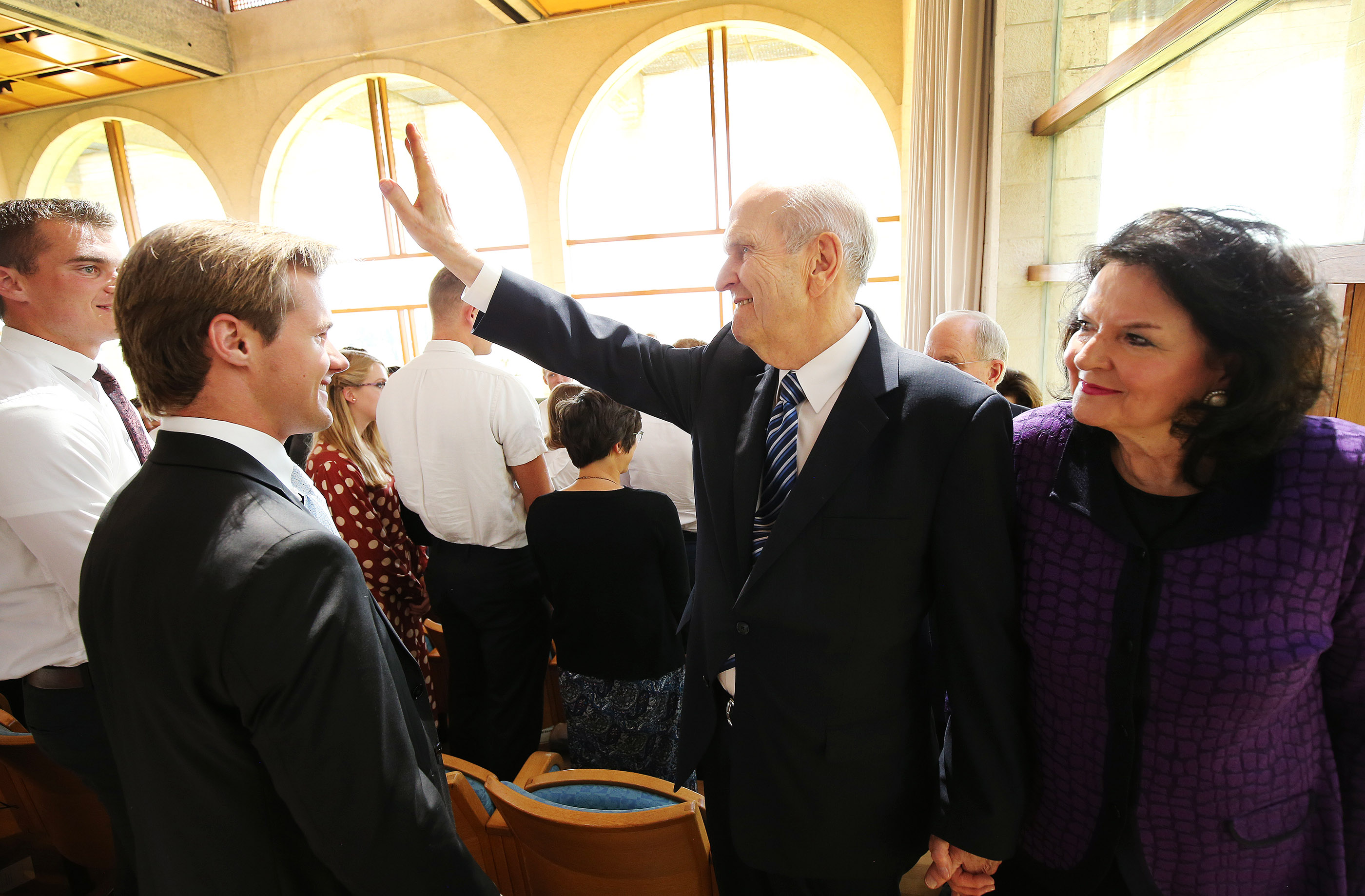 President Russell M. Nelson, president of The Church of Jesus Christ of Latter-day Saints, and his wife, Sister Wendy Watson Nelson, wave to attendees after the Jerusalem District Conference at the BYU Jerusalem Center in Jerusalem on Saturday, April 14, 2018.