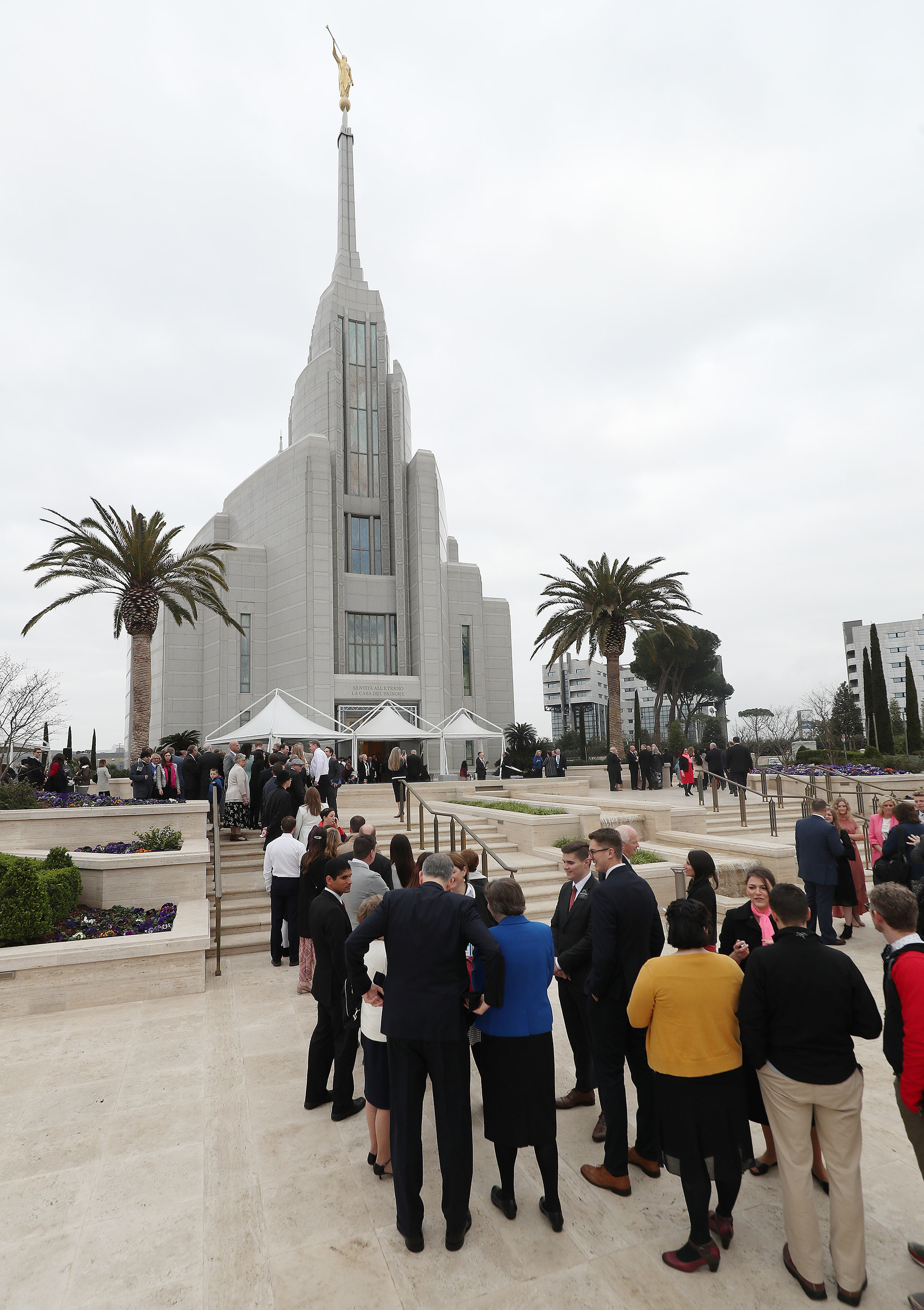 Attendees stand in line for the dedication of the Rome Italy Temple of The Church of Jesus Christ of Latter-day Saints in Rome, Italy, on Sunday, March 10, 2019.