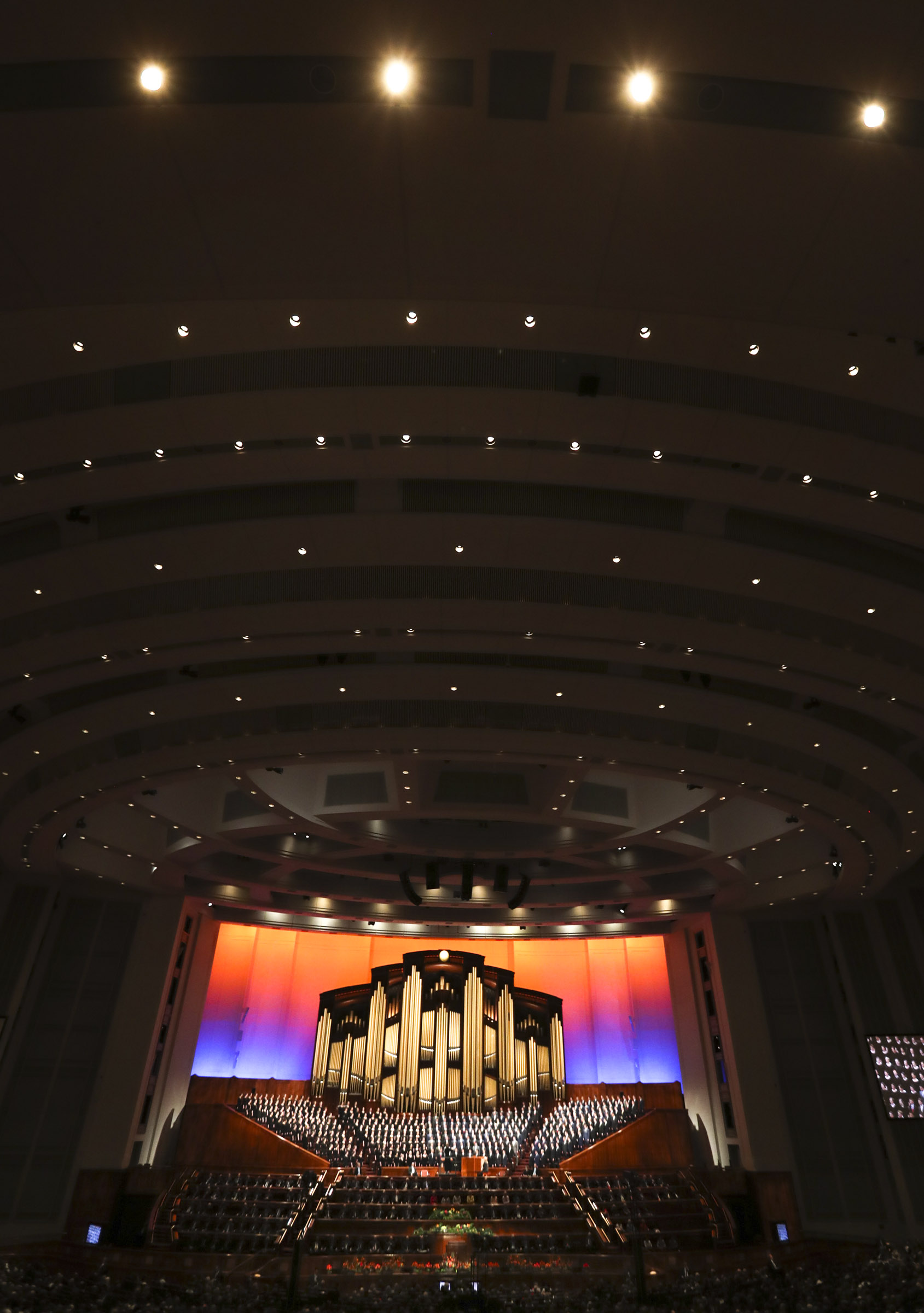 Conferencegoers attend the afternoon session of the 189th Annual General Conference of The Church of Jesus Christ of Latter-day Saints at the Conference Center in Salt Lake City on Saturday, April 6, 2019.