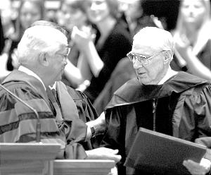 President James E. Faust receives honorary degree from the University of Utah May 10.